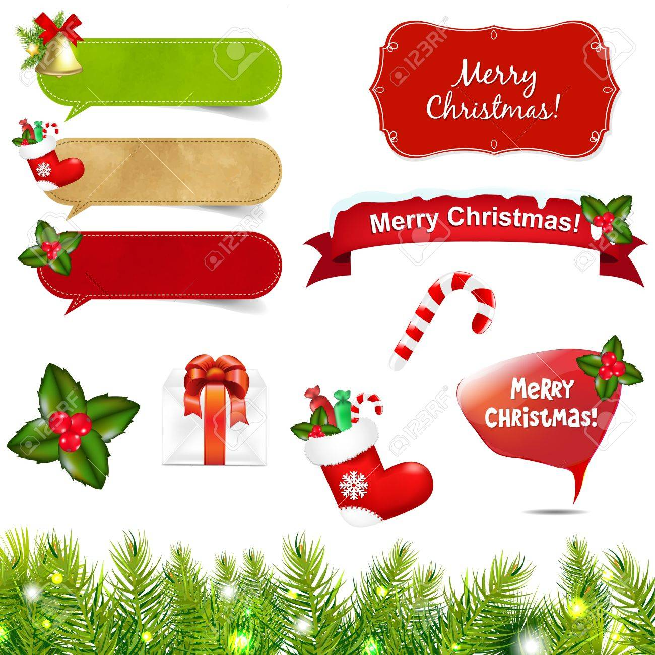 Big Christmas Icons Set With Border With Gradient Mesh, Isolated On White Background, Illustration Stock Vector - 16434704