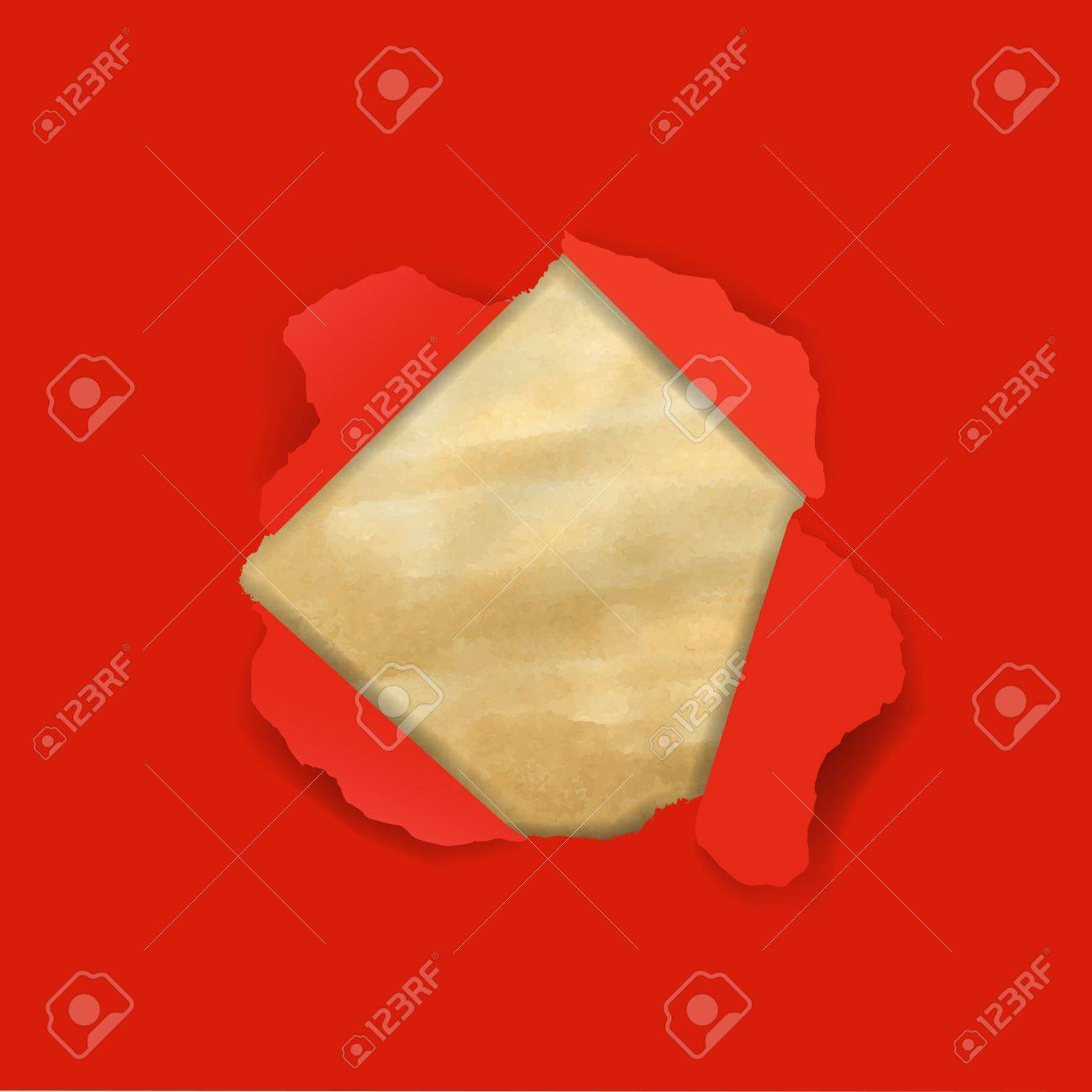 Red Torn With Old Paper With Gradient Mesh, Illustration Stock Vector - 16434685