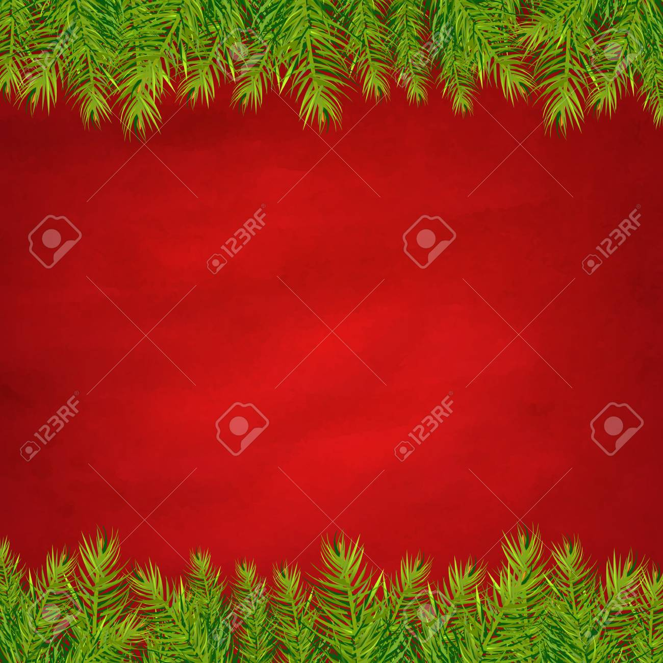 Retro Red Background And Fir Tree Borders With Gradient Mesh, Illustration Stock Vector - 16667186