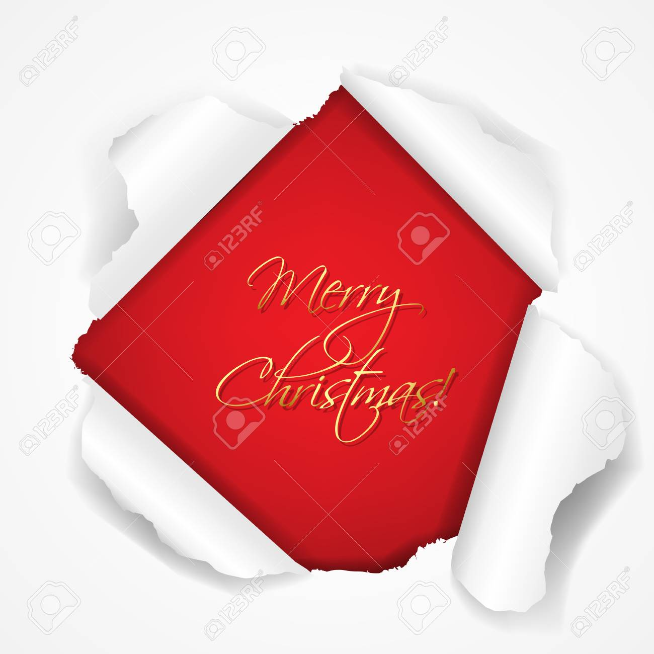 Merry Christmas Red Torn Card With Gradient Mesh, Vector Illustration Stock Vector - 16928020