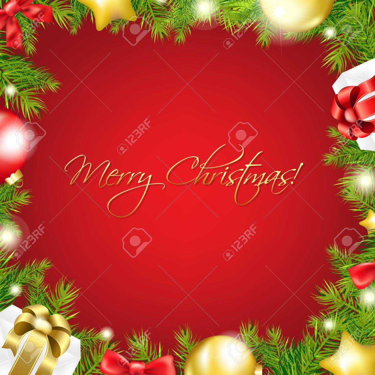 Merry Christmas Red Wallpaper With Gradient Mesh, Vector Illustration Stock Vector - 16928030