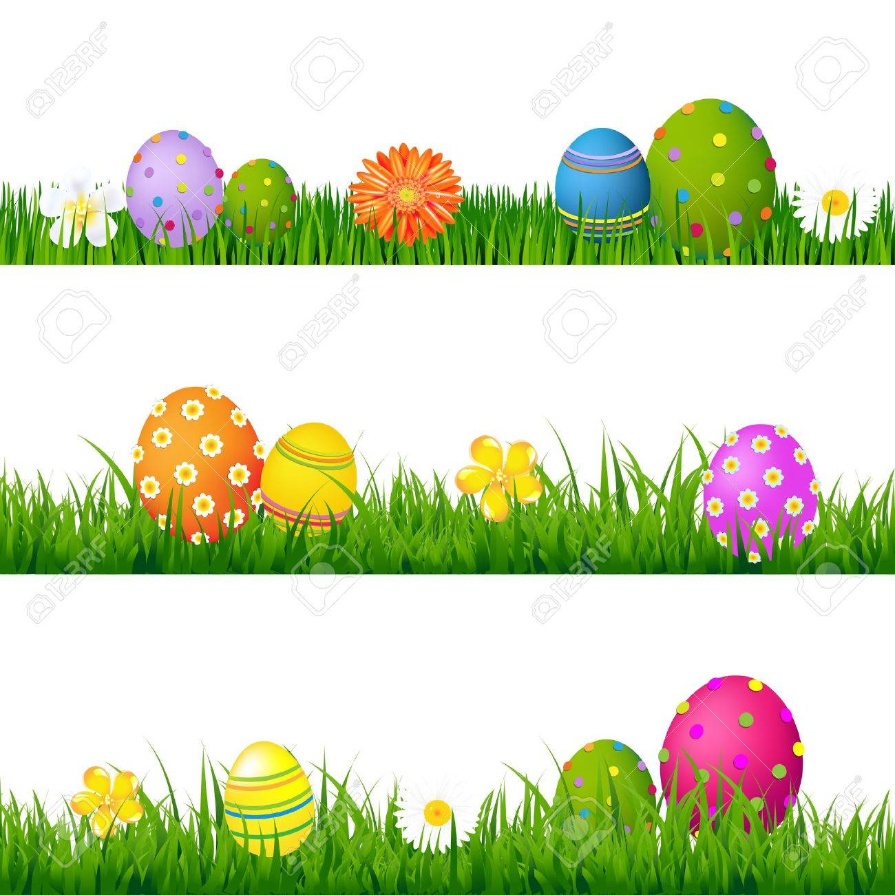 Big Green Grass Set With Flowers And Easter Eggs Gradient Mesh Isolated On White