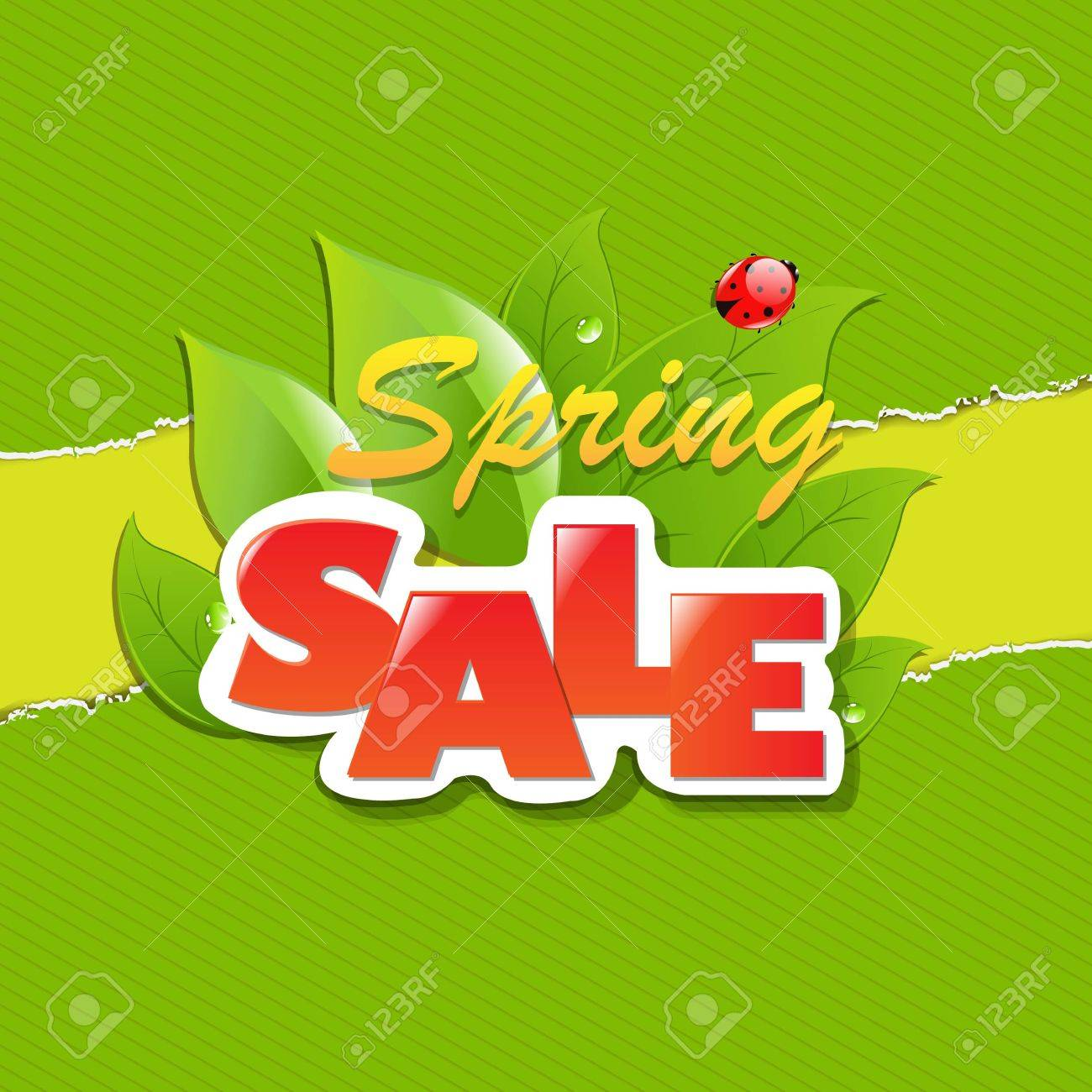 Green Torn Paper Borders And Spring Sale Banner With Gradient Mesh, Vector Illustration Stock Vector - 19802550