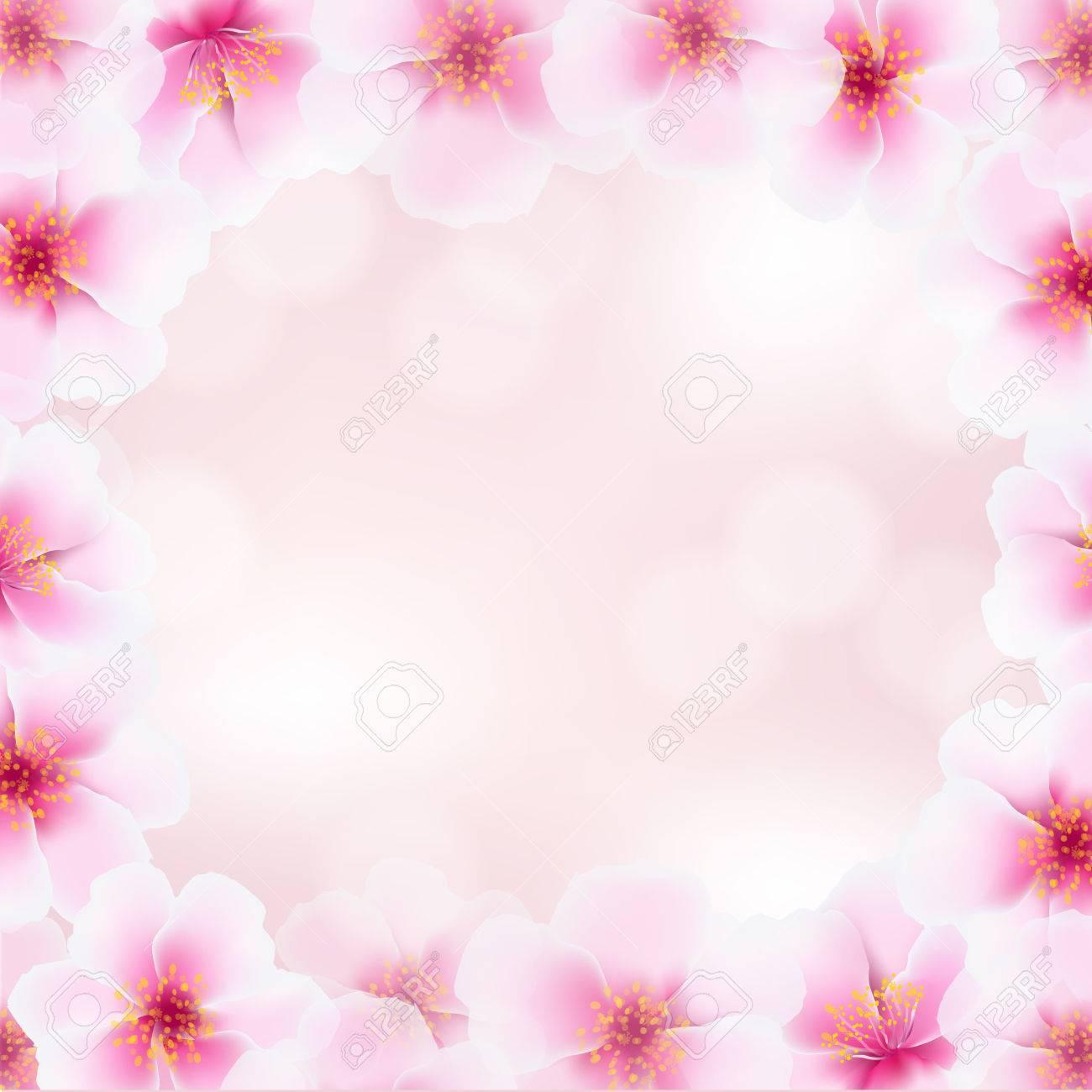 グラデーション メッシュのイラストの背景をぼかしと桜の花のフレーム