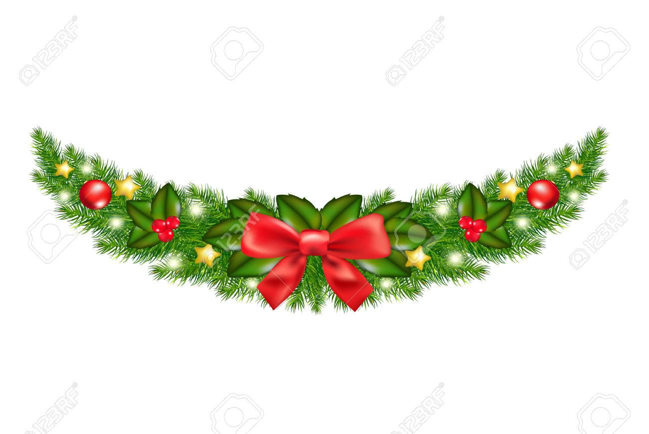 Xmas Garland With Gradient Mesh Vector Illustration
