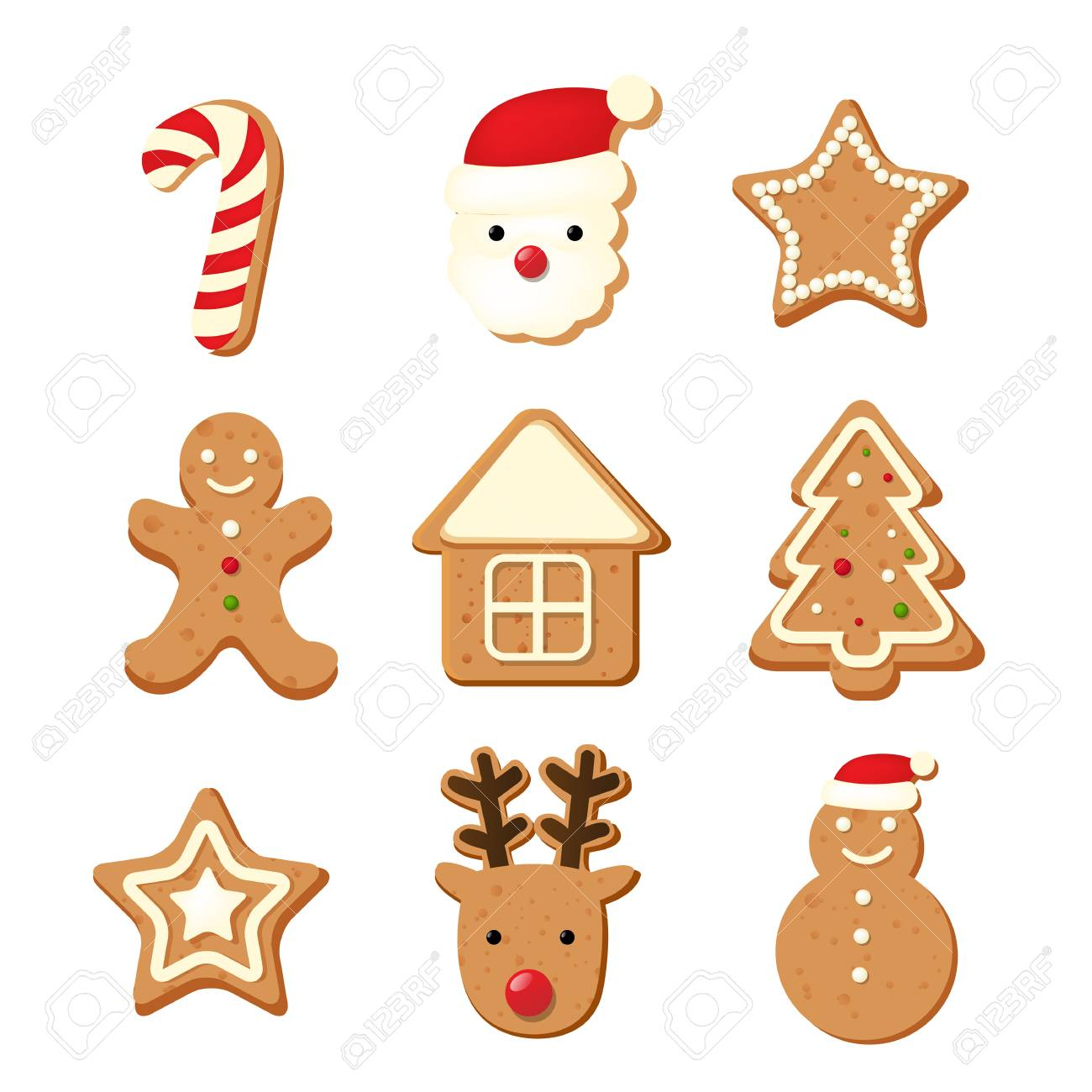 christmas color cookies with gradient mesh vector illustration stock vector 90935700