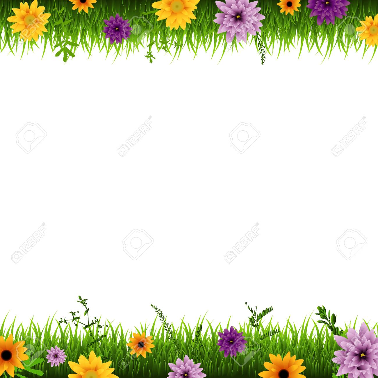 grass and flowers border.  Flowers Grass And Flowers Border Vector Illustration Stock  94943113 Throughout Border I