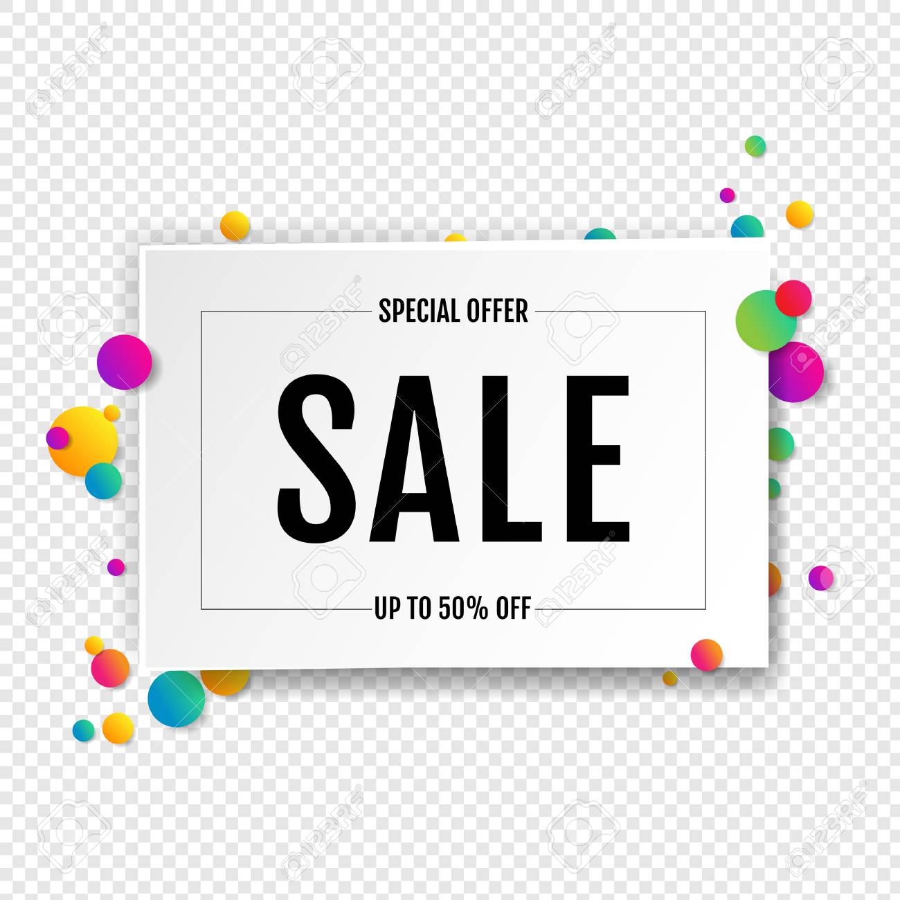 Sale Banner With Ball Transparent Background With Gradient Mesh