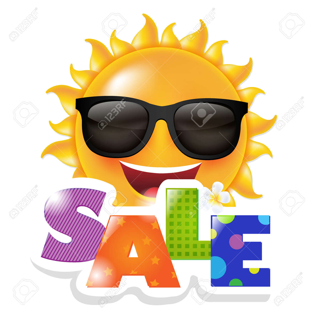 Sun Smile Sale, With Gradient Mesh, Vector Illustration - 165095361