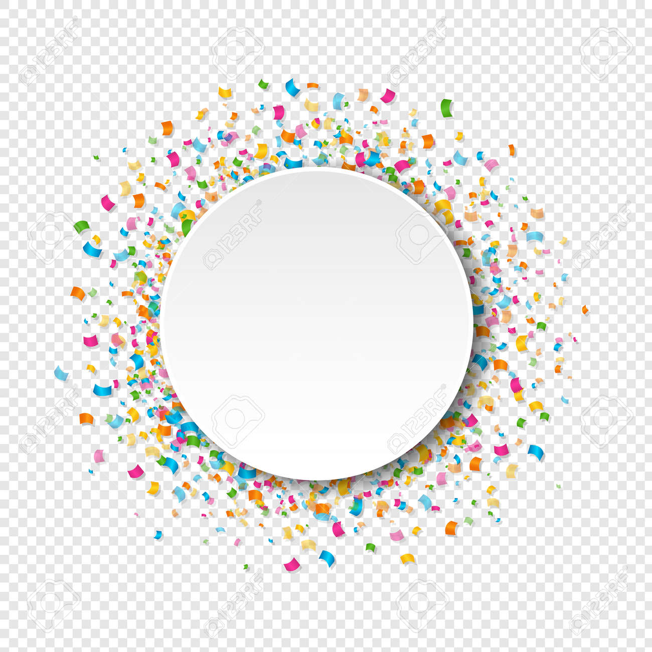 White Banner With Confetti Transparent Background With Gradient Mesh, Vector Illustration - 165097801