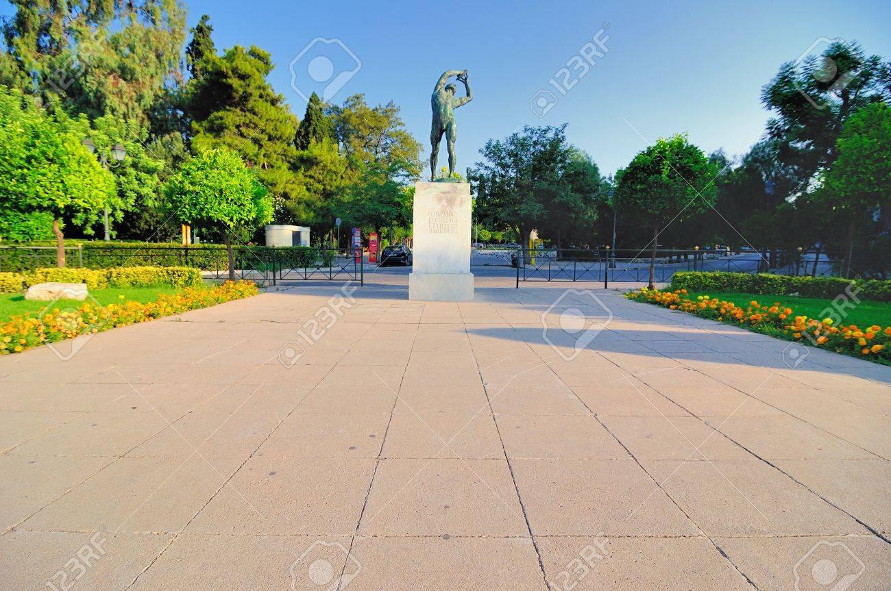 bronze discobolus from the Panathenaic Stadium in Athens Stock Photo - 14178639