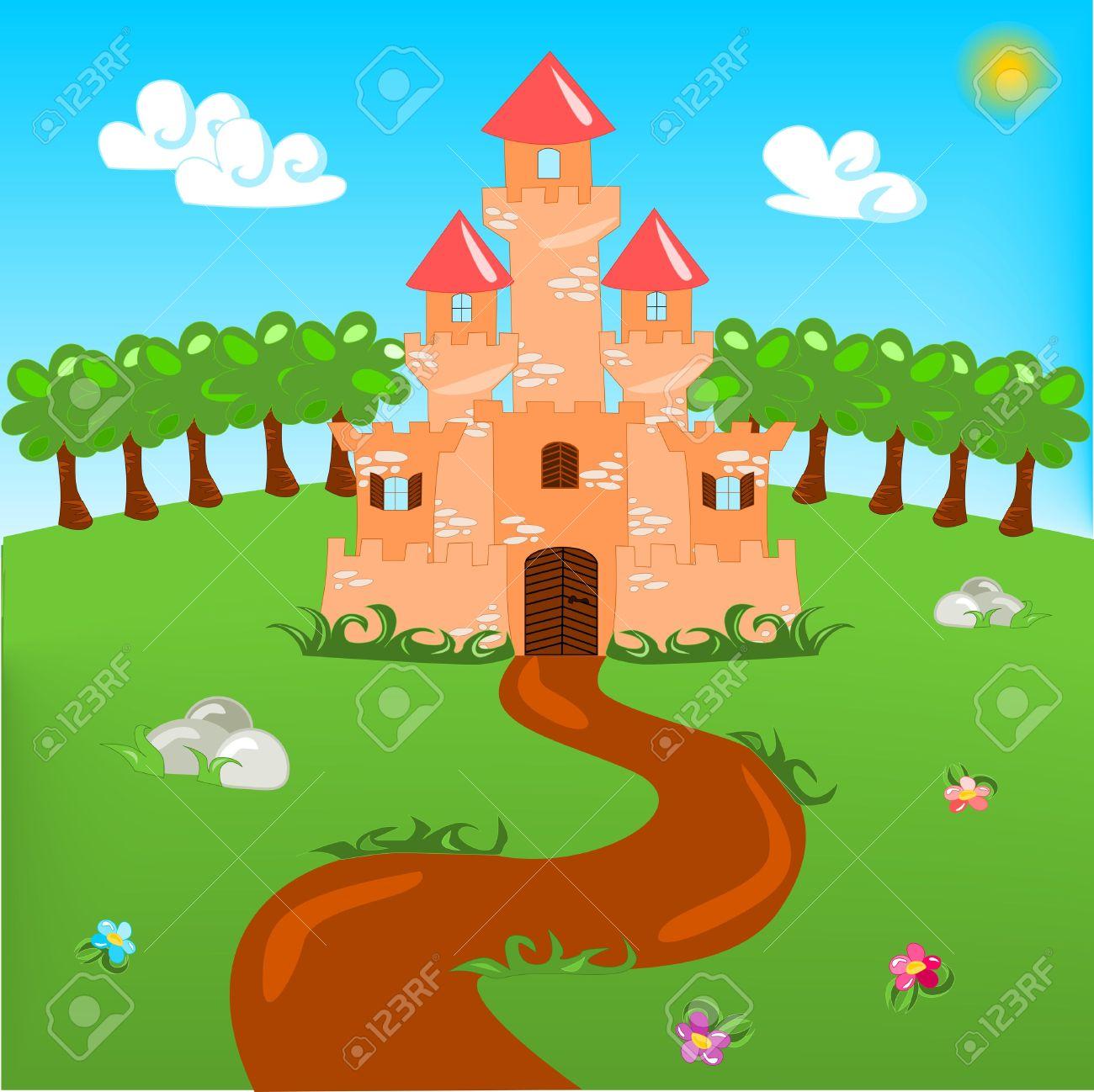 Cartoon illustration of castle Stock Vector - 12943296