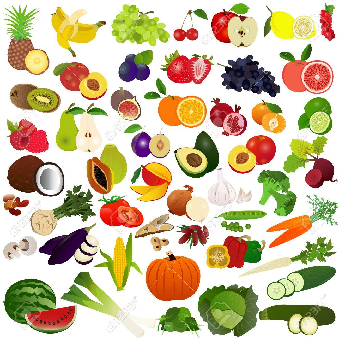 set fruits and vegies royalty free cliparts vectors and stock