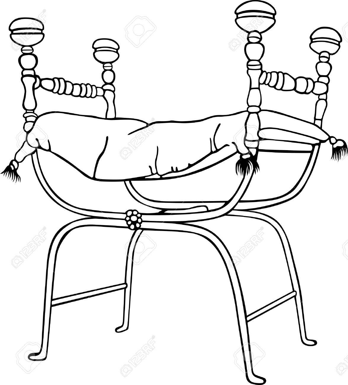 Antique chair drawing - Antique Chair Without Back With A Pillow And Four Knobs Stock Vector 10285878