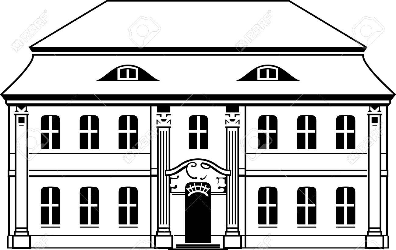 two storey house with mansard on white royalty free cliparts
