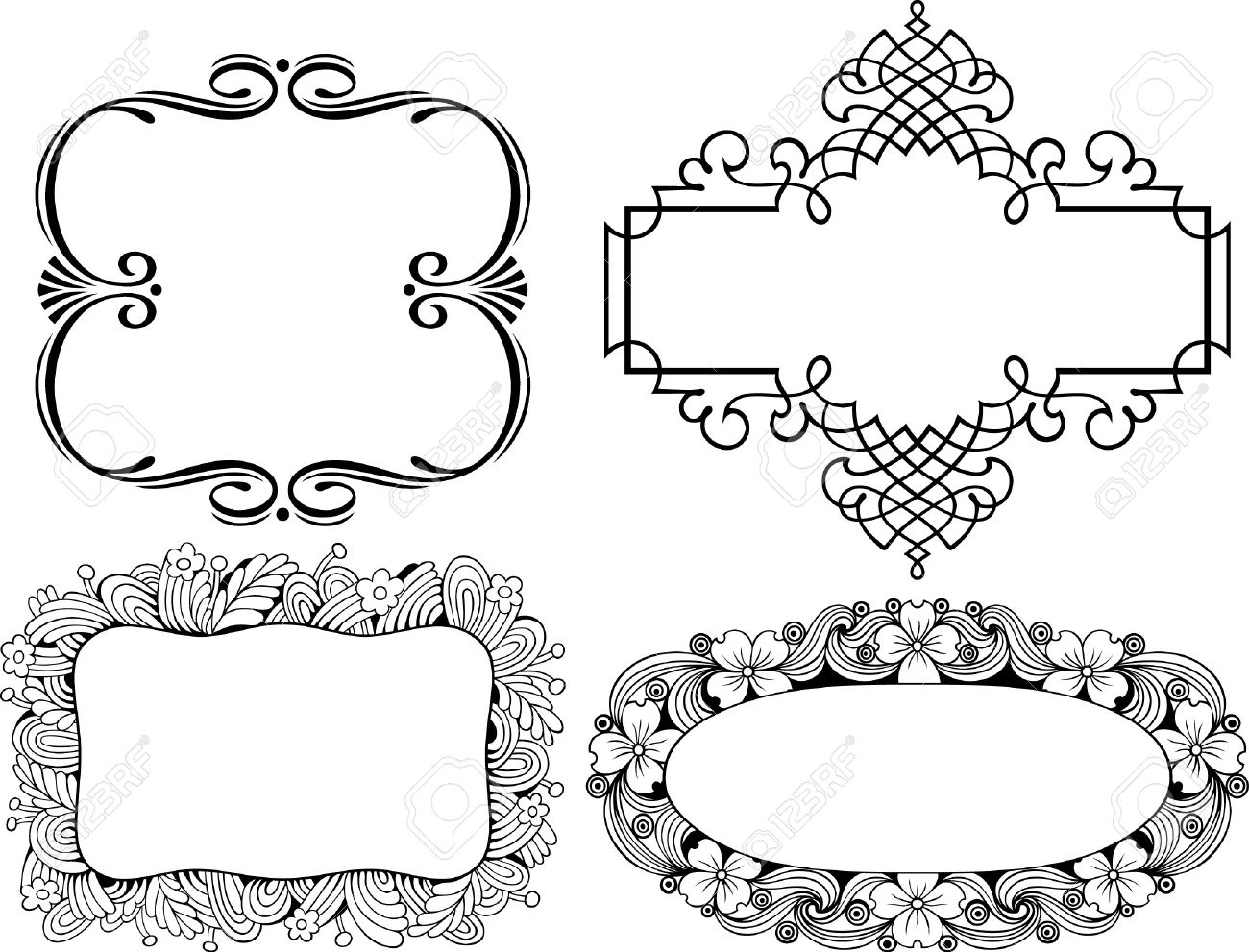 decorative frames on white stock vector 10332520 - Decorative Frames