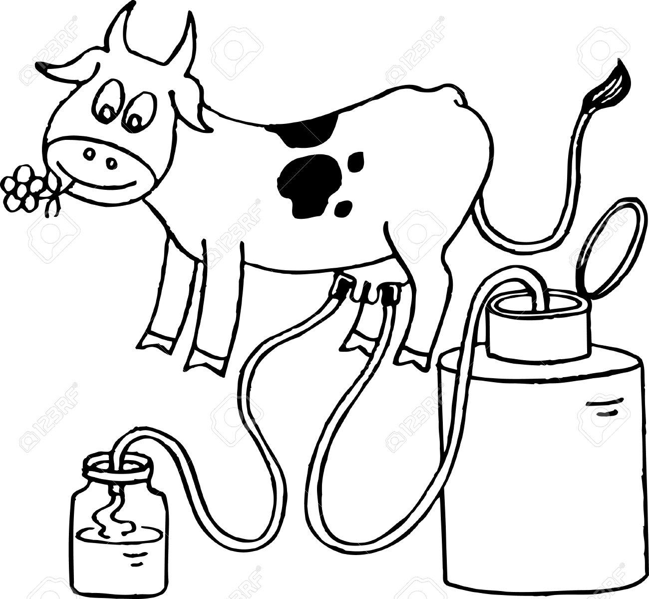 Cow giving milk Stock Vector - 10355199