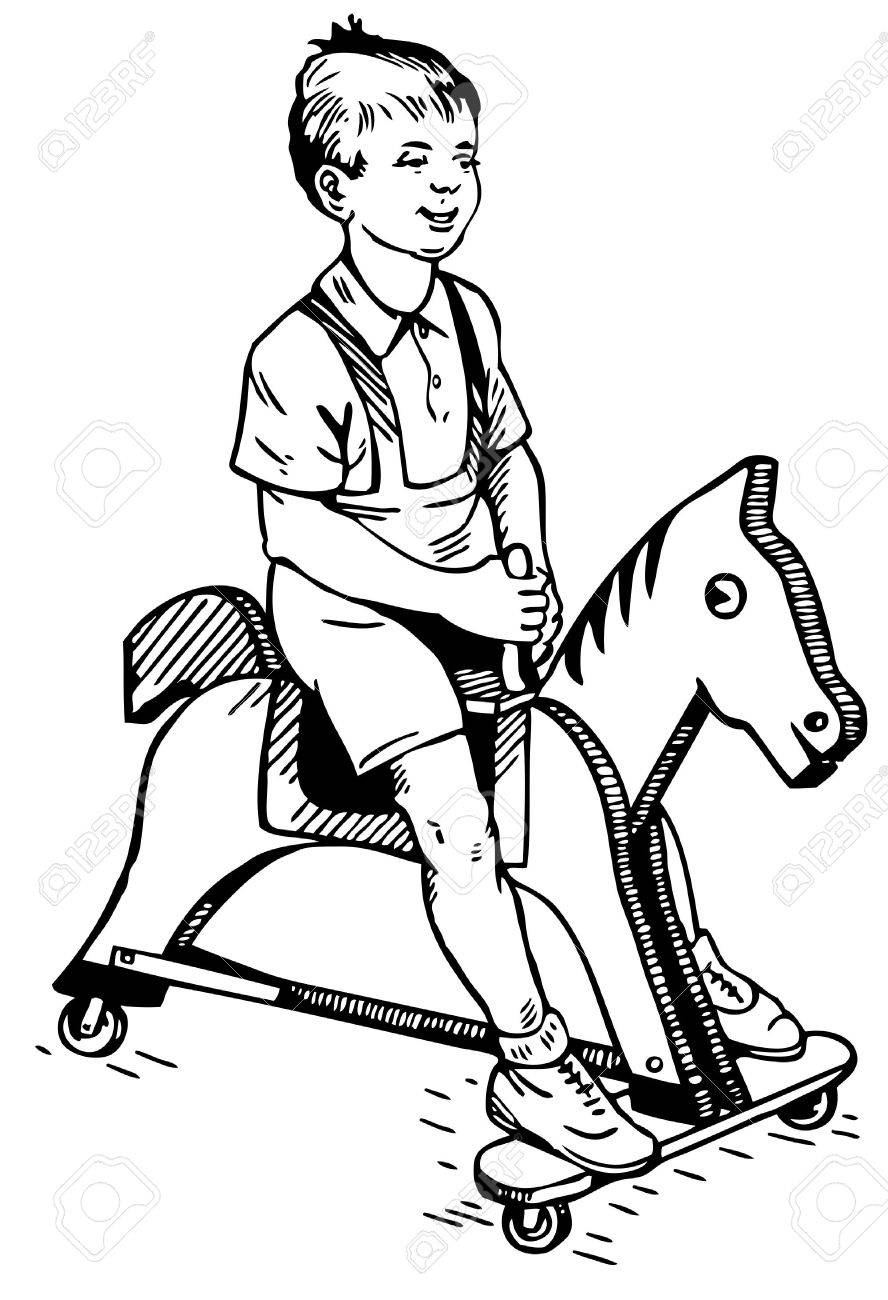 Boy On The Toy Horse Royalty Free Cliparts Vectors And Stock Illustration Image 10402660