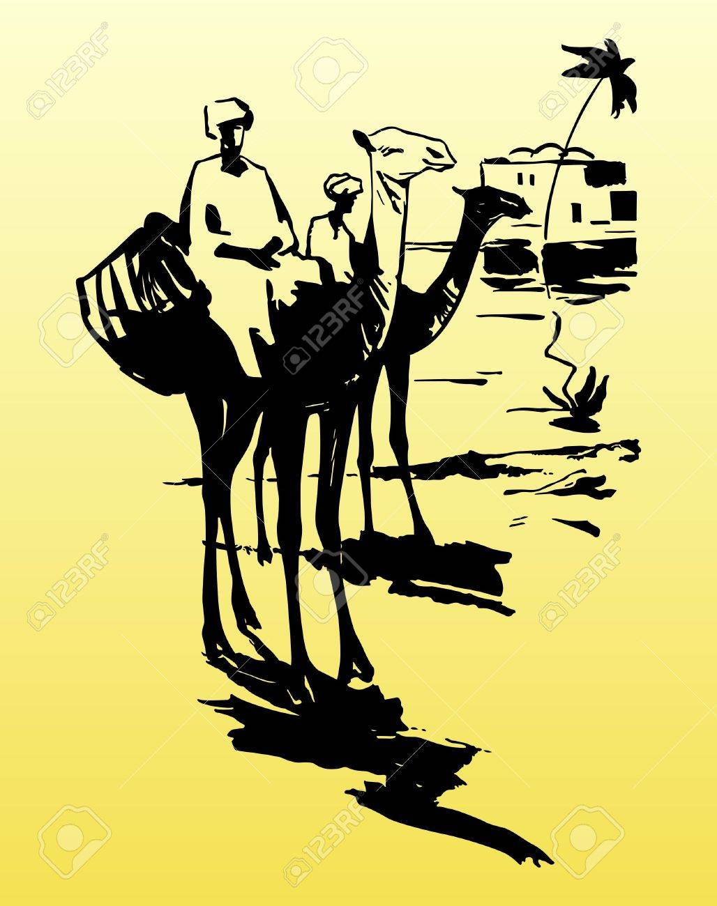 Camels and bedouins in desert - 10534031