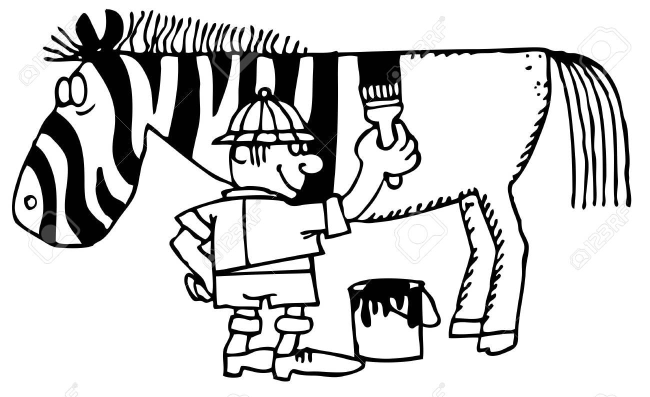 Man painting zebra on white background Stock Vector - 11380563