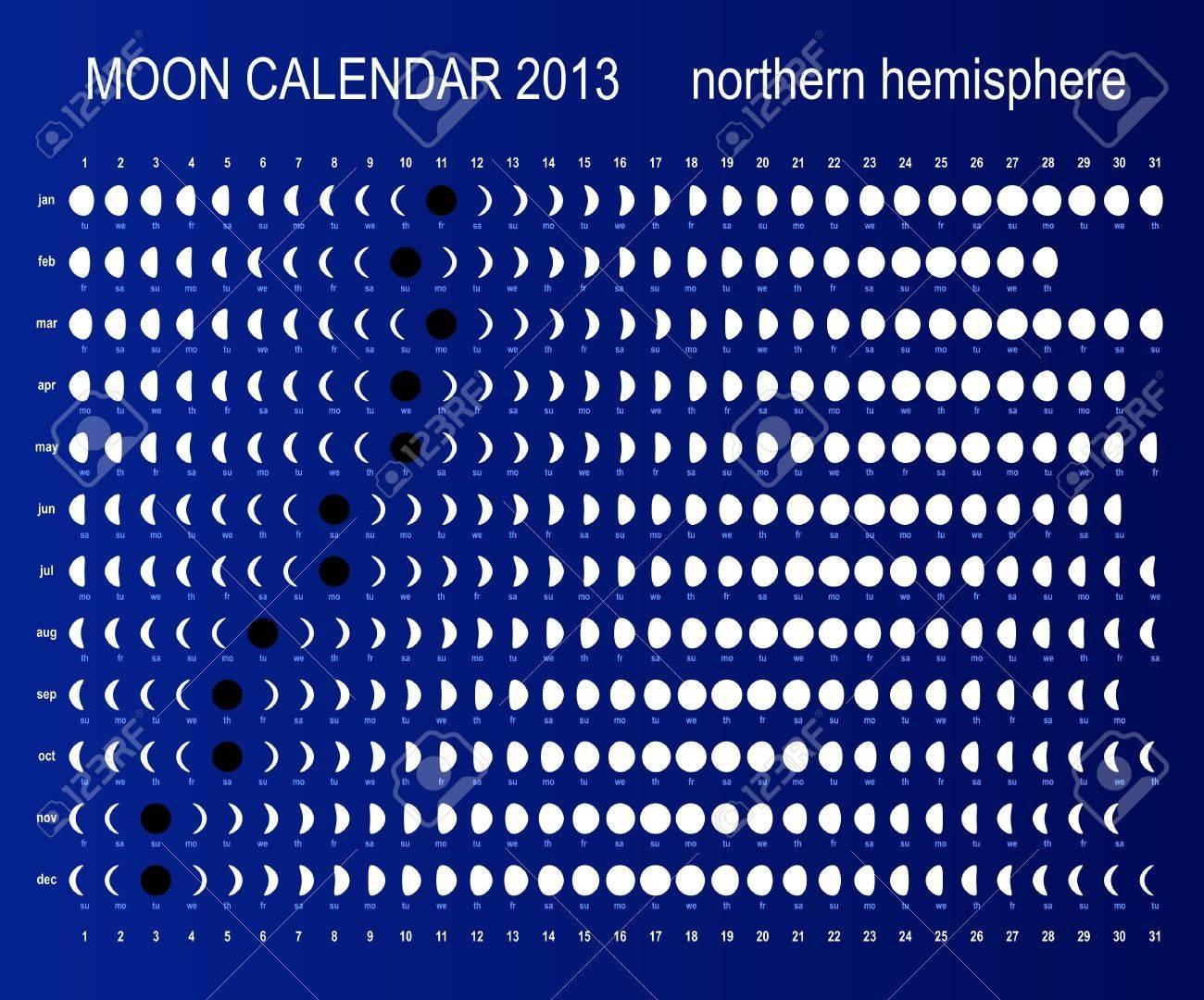 Moon calendar for northern hemisphere Stock Vector - 13705312