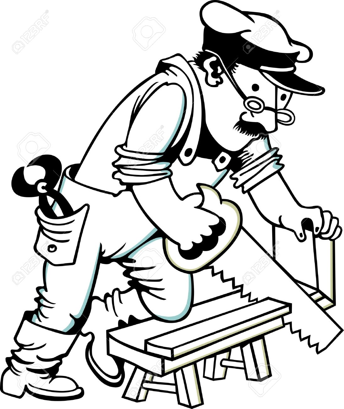 man sawing wood royalty free cliparts vectors and stock rh 123rf com carpenter clip art free carpenter clip art free downloads