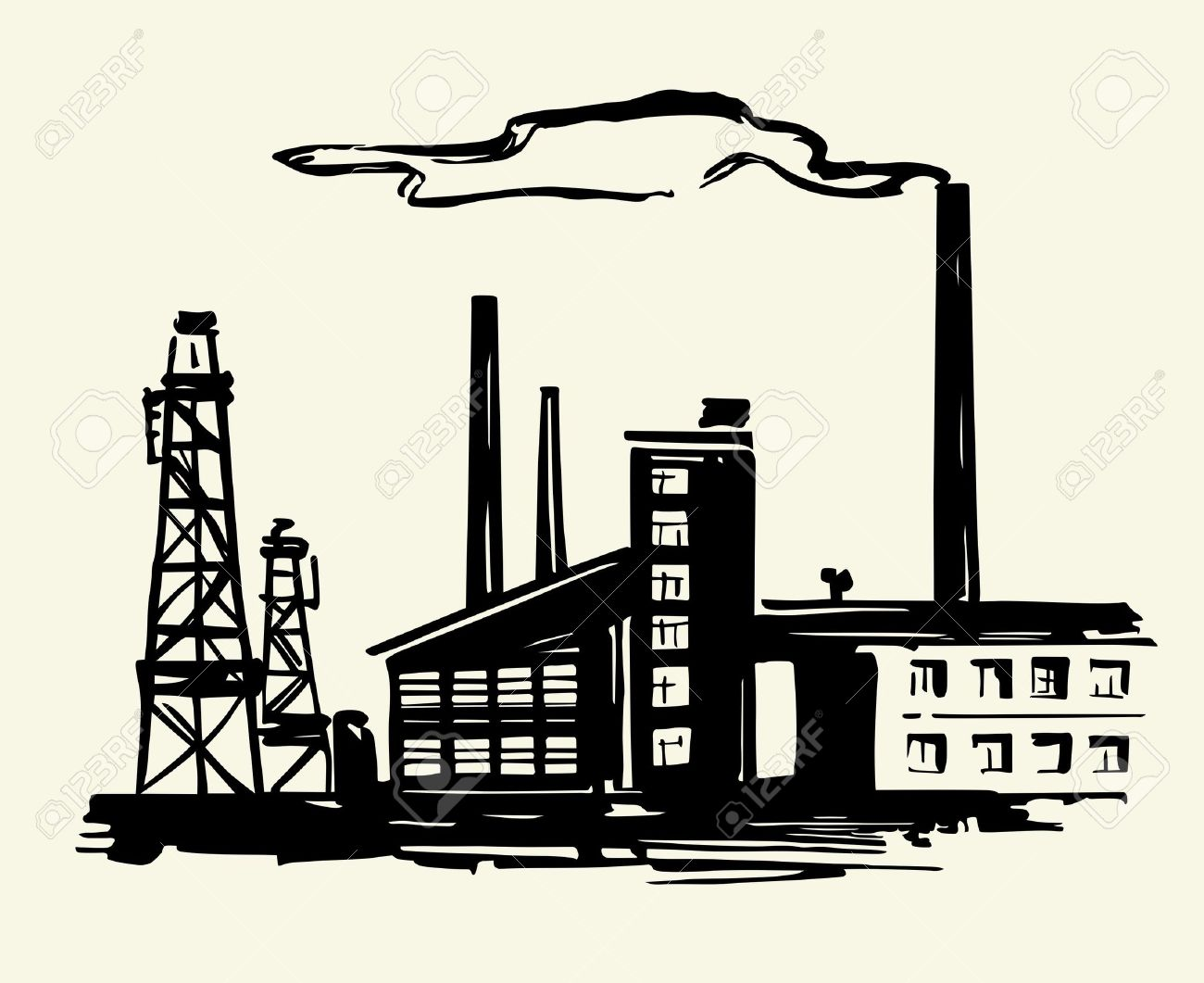 Factory and much smoke Stock Vector - 13779993