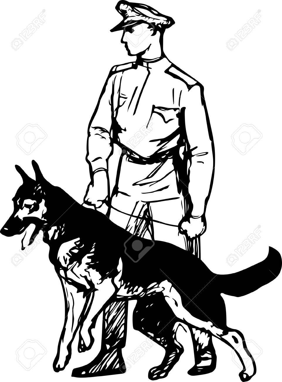 Frontier guard with dog Stock Vector - 14651568
