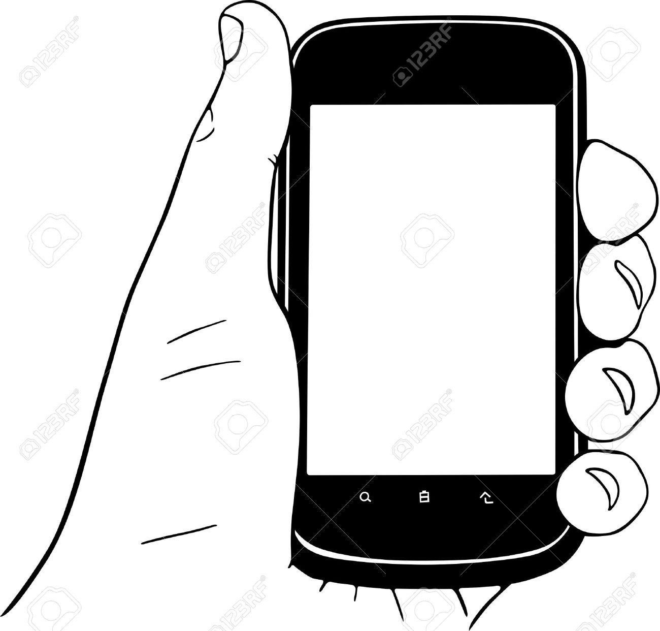 Telephone Portable Dans La Main Clip Art Libres De Droits Vecteurs Et Illustration Image 16779879