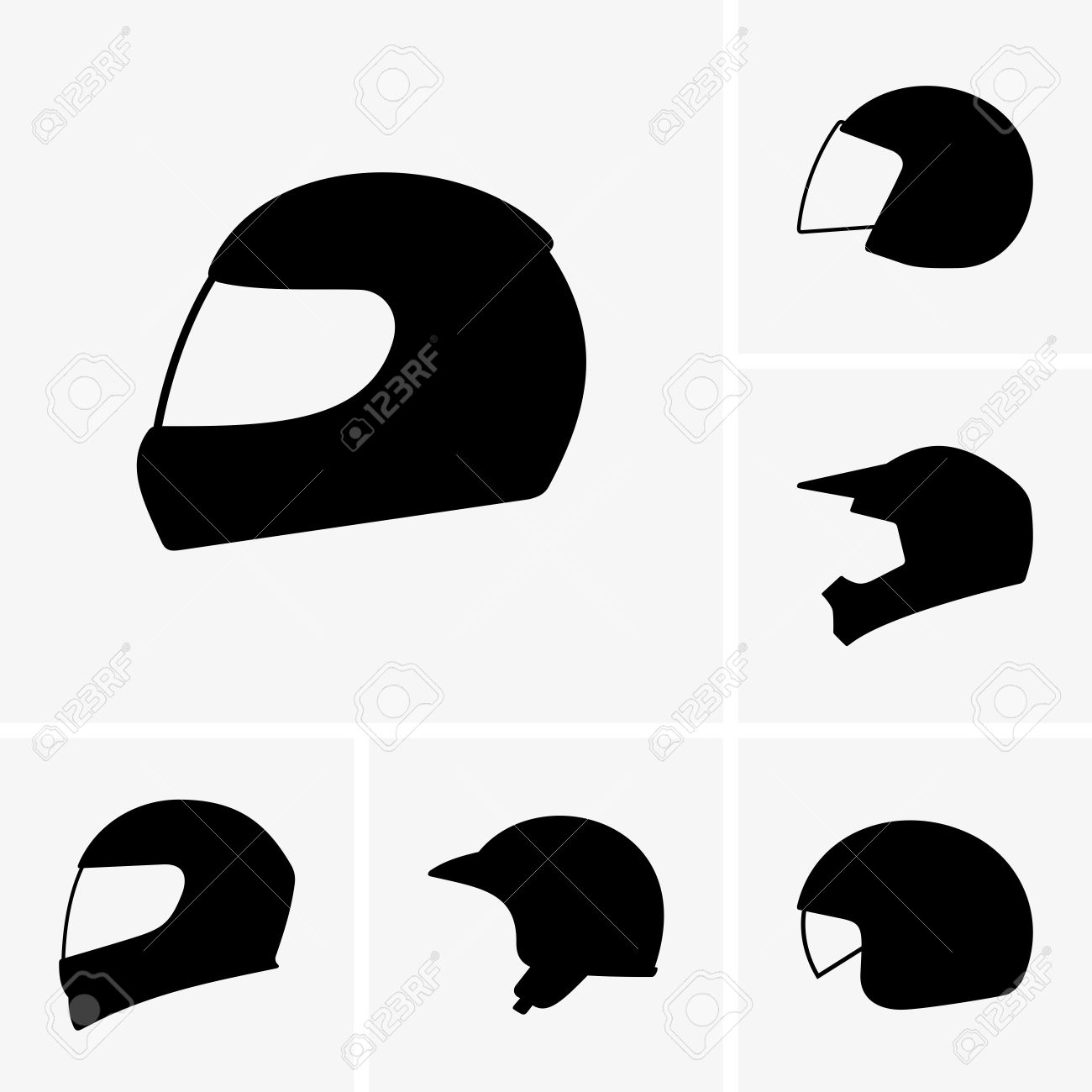 Motorcycle Helmet Outline Motorcycle Helmets Vector