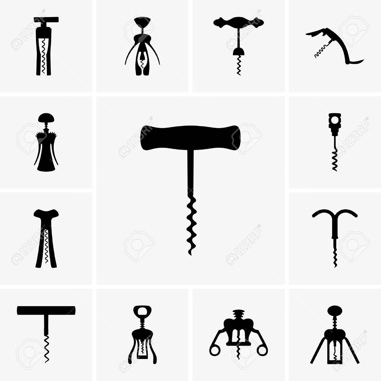 Set of corkscrew icons - 22866381