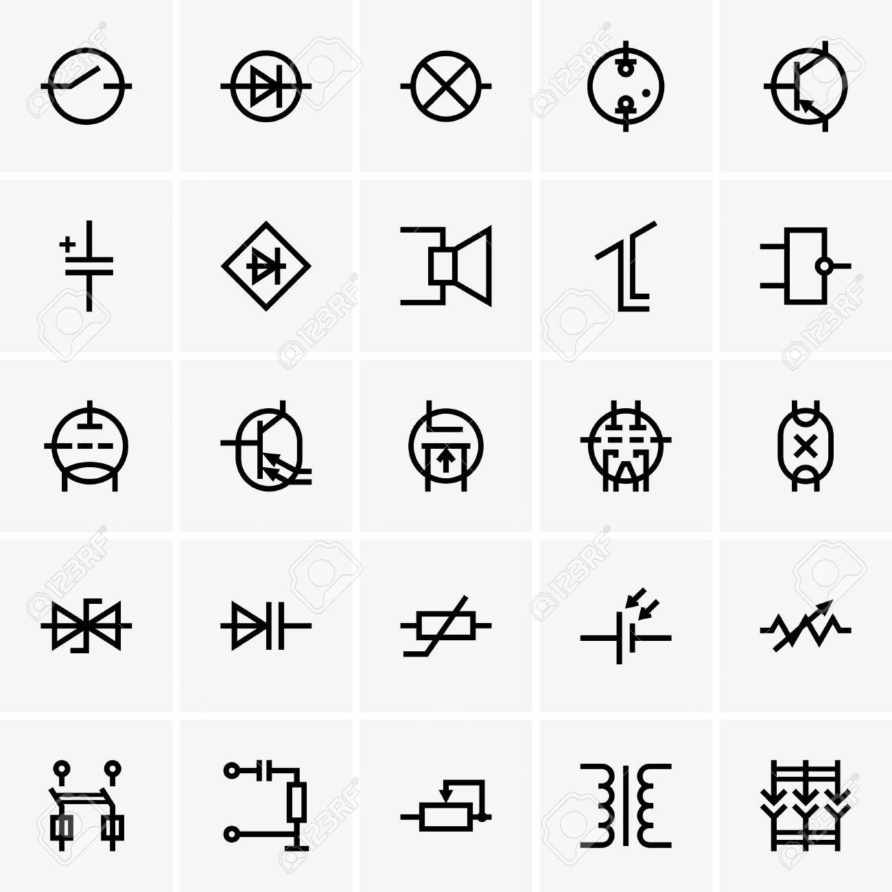 Electronic Components Icons Royalty Free Cliparts, Vectors, And ...