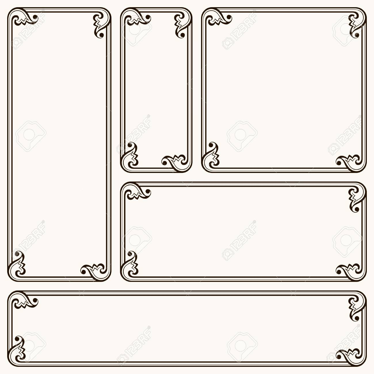 Frames With Decorative Corners In Different Proportions Royalty Free