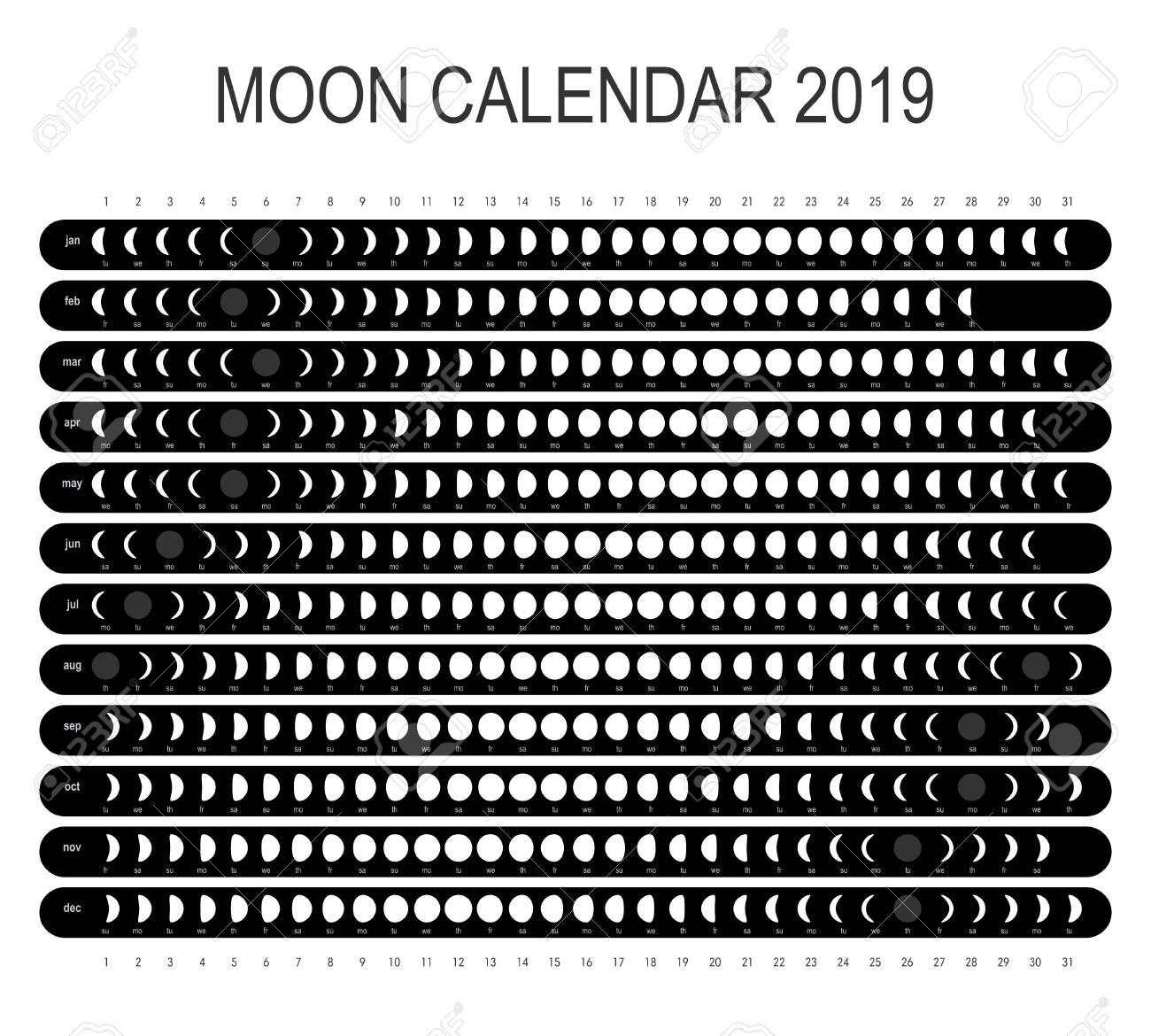 Free Lunar Calendar 2019 Moon Calendar 2019 Royalty Free Cliparts, Vectors, And Stock