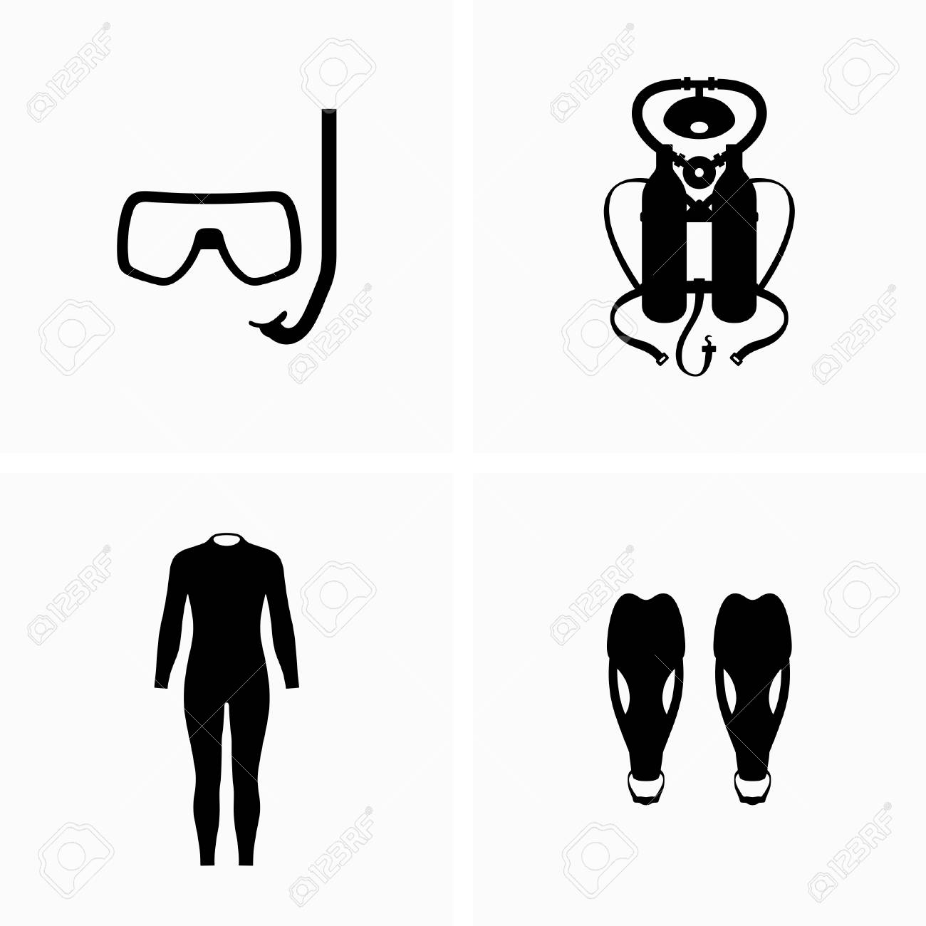 Diving, scuba equipment, wetsuit and fins - Vector - 120559655