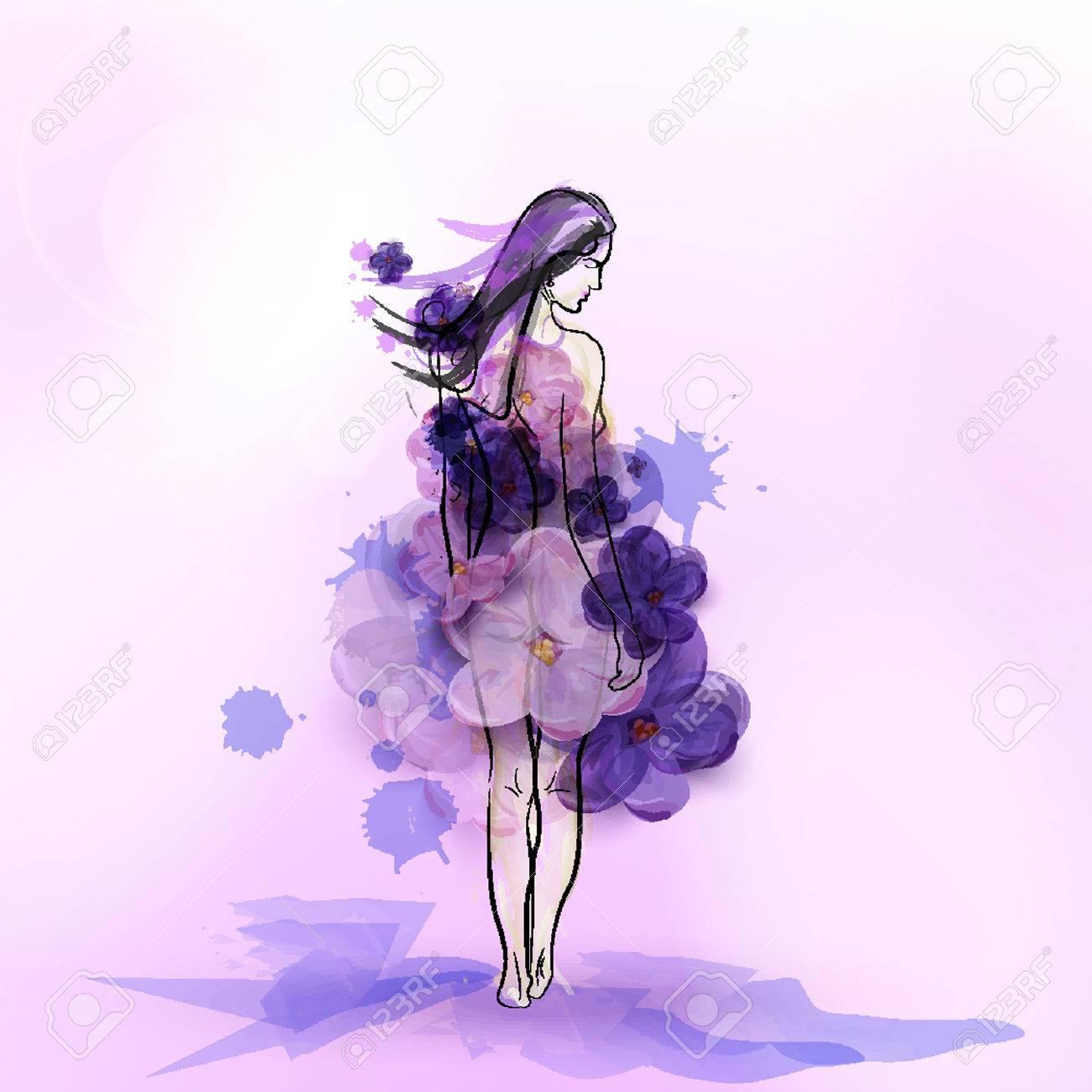 ライラックの花のドレスの女の子のシルエット 抽象的なベクトル イラスト のイラスト素材 ベクタ Image