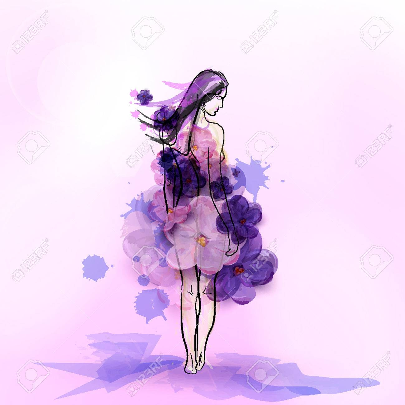 Silhouette of girl in dress from flowers of lilac on a purple silhouette of girl in dress from flowers of lilac on a purple background abstract vector mightylinksfo