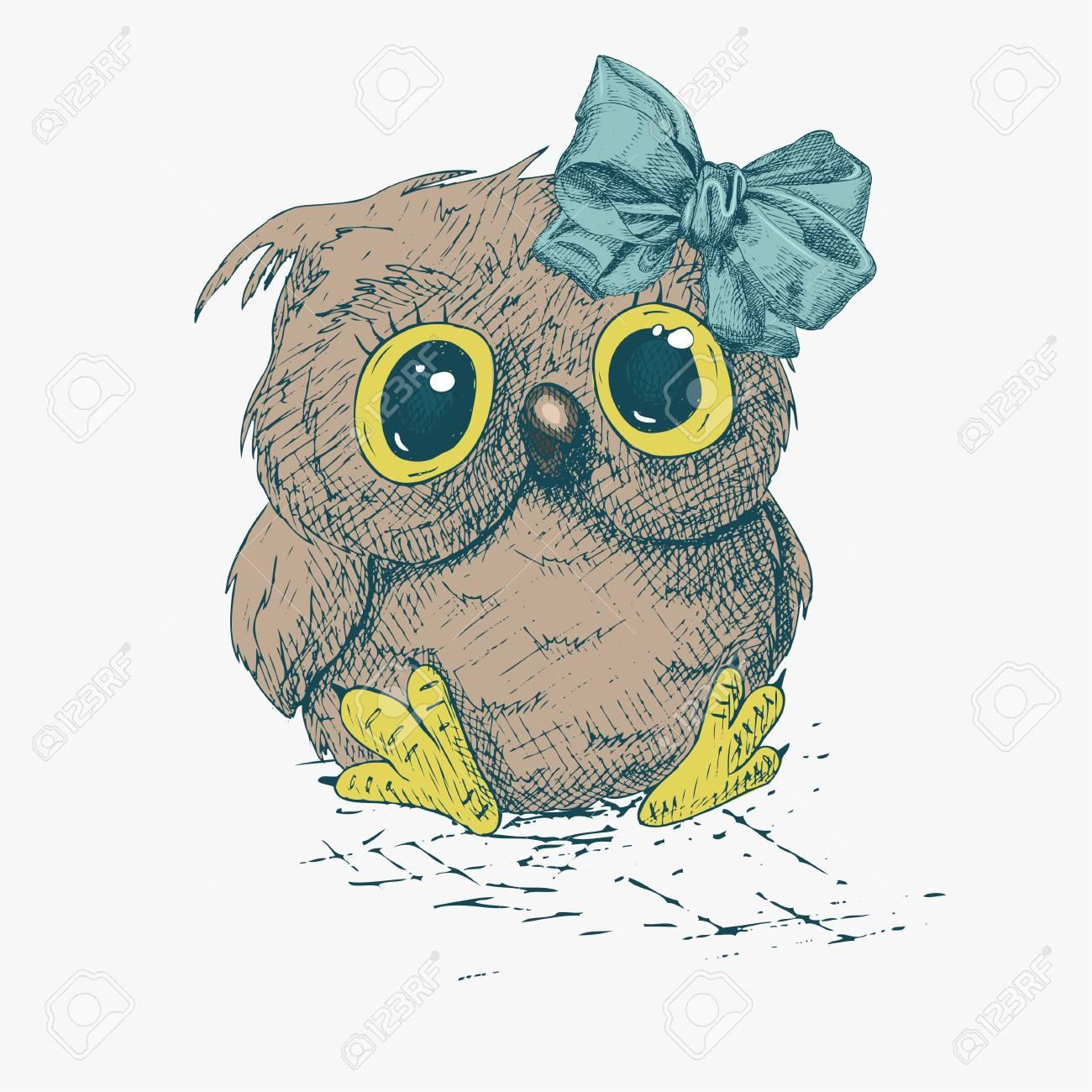 Cute Cartoon Owl with a bow Stock Vector - 97264706 fea199bc8c9a