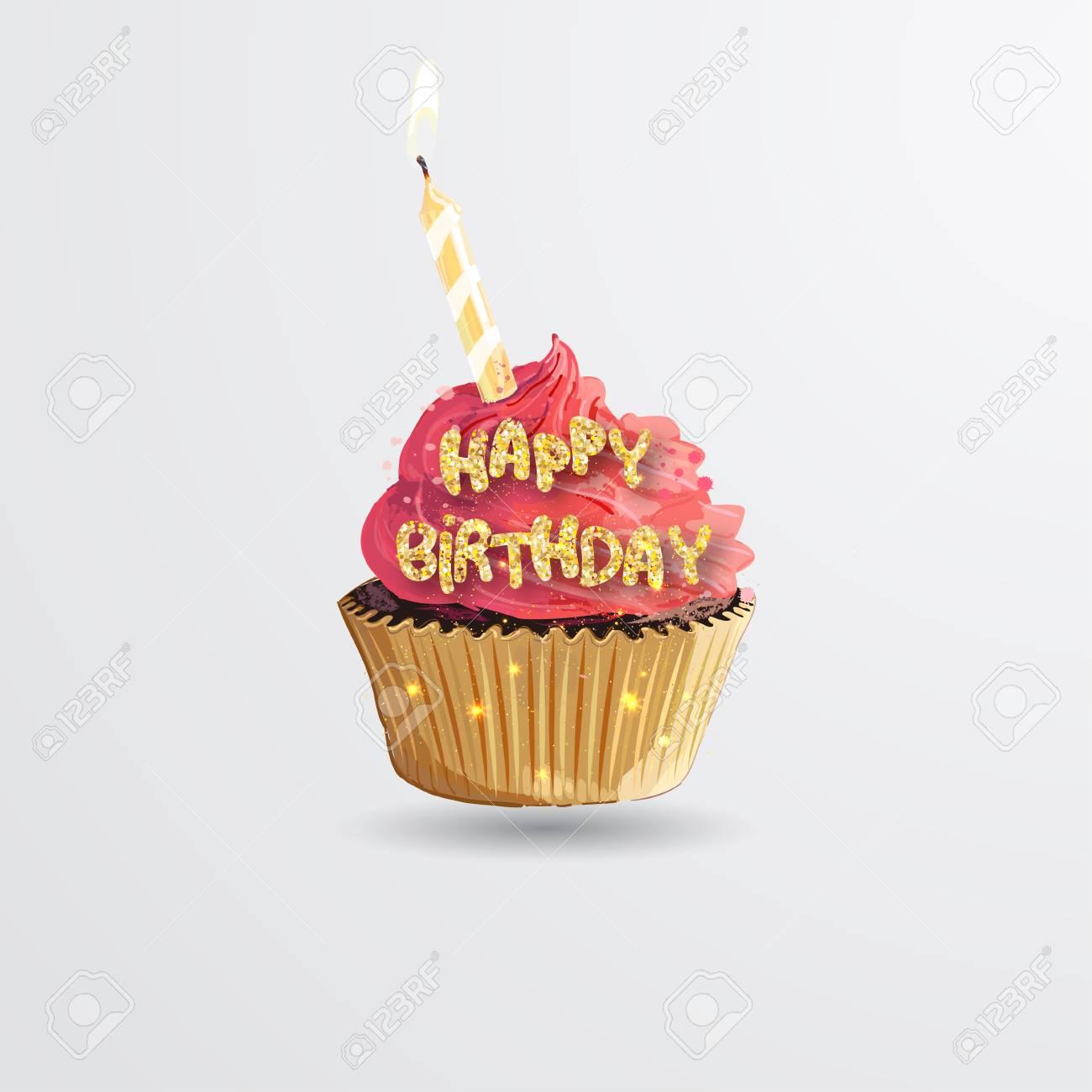 Wondrous Cupcake Sweet Birthday Cake With Candle Lit Happy Birthday Birthday Cards Printable Riciscafe Filternl
