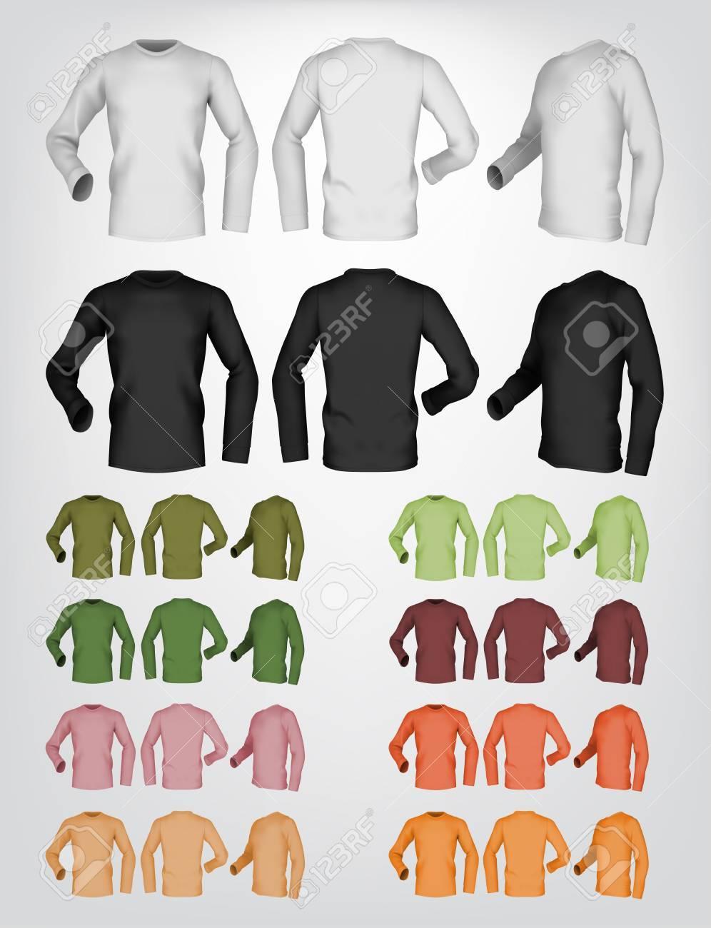 Lange Ärmel Leere T-Shirt-Vorlage. Front-, Heck- Und Seitenansicht ...