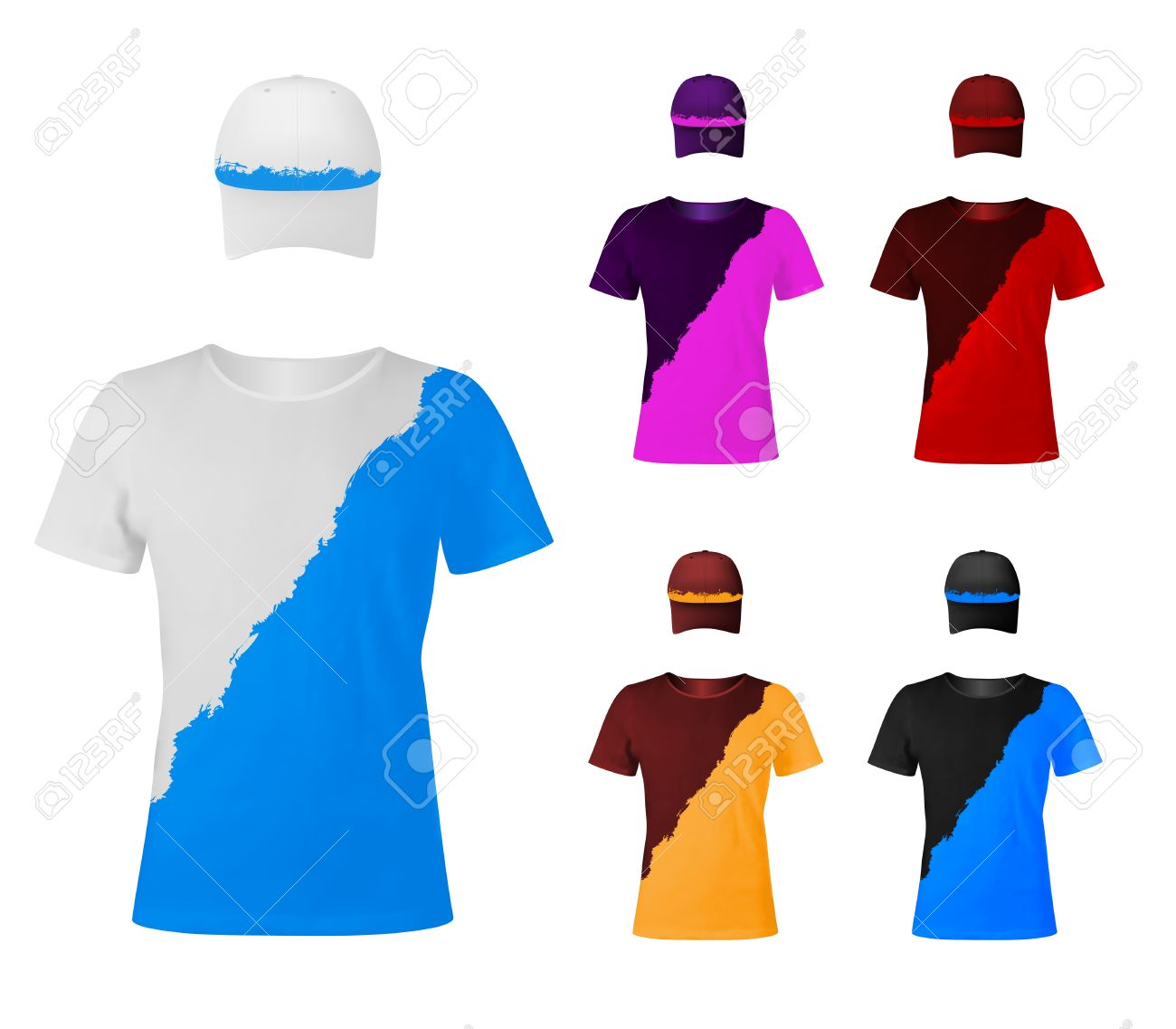 Design Template Of Two-color T-shirts With Hats. Royalty Free ...