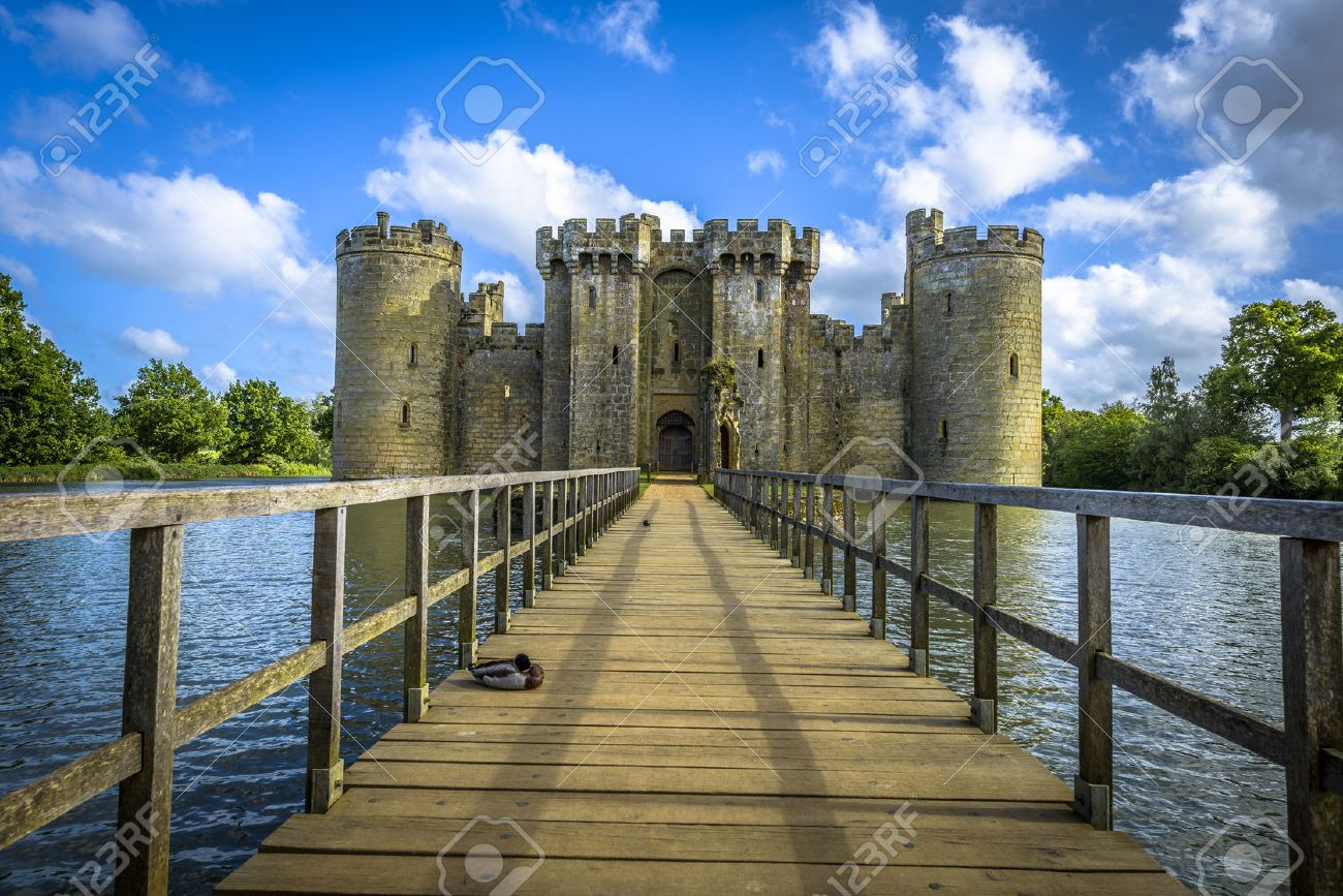High Quality Historic Bodiam Castle And Moat In East Sussex, England Stock Photo    31042992