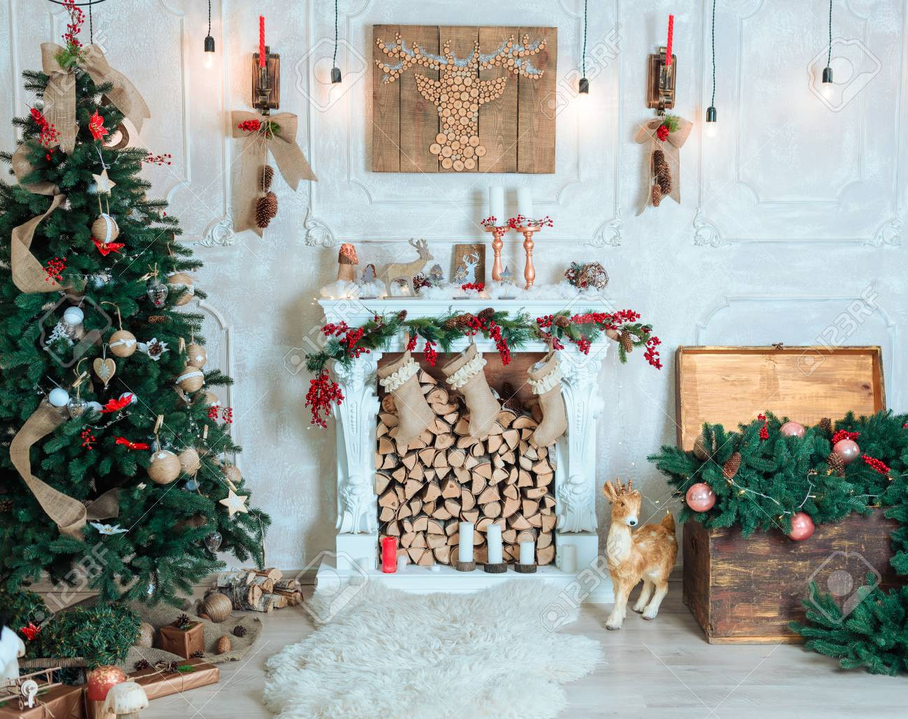 Beautiful Holiday Decorated Room With Christmas Tree Fireplace
