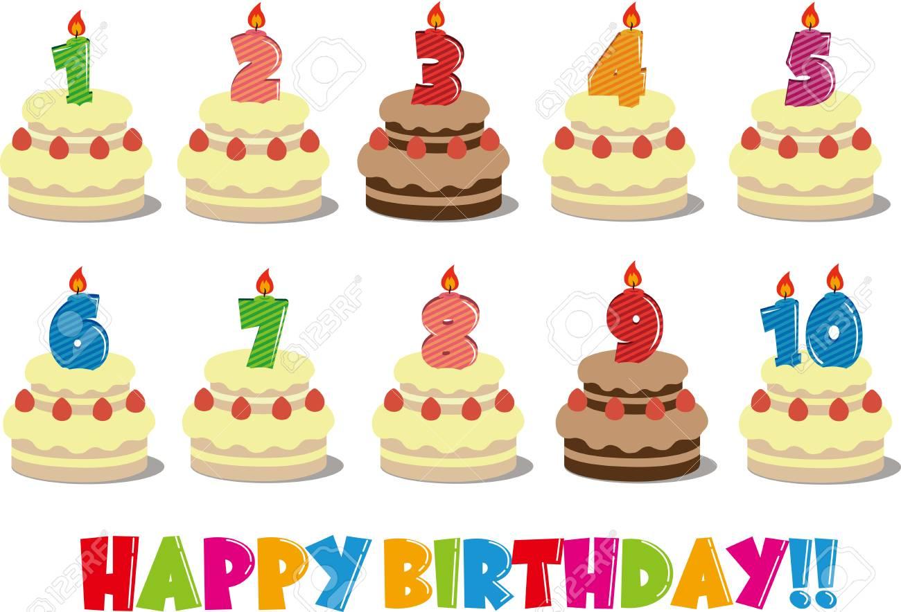 誕生日ケーキ イラスト 1 10のイラスト素材ベクタ Image 90953064