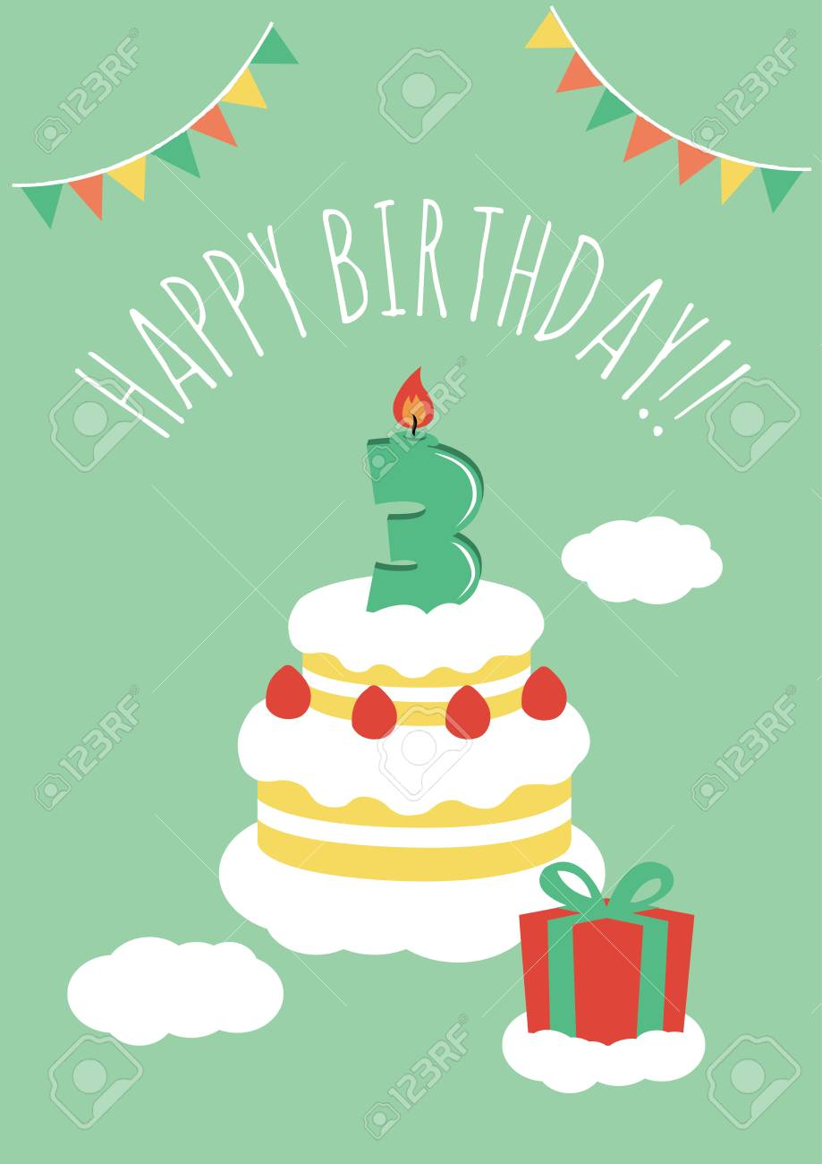 3 Years Old Birthday Card Stock Vector