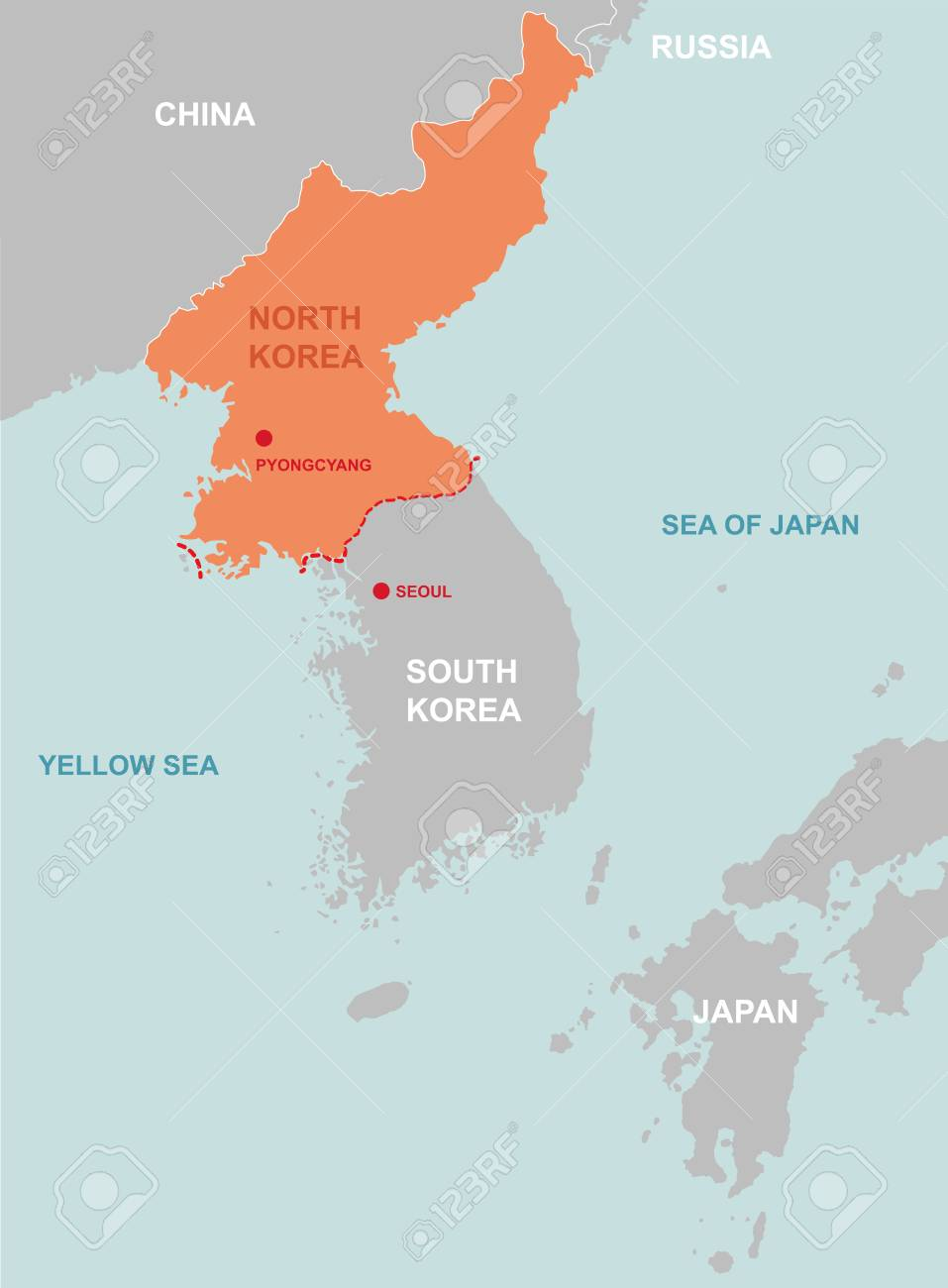 North Korea and surrounding countries map icon. - 91341338