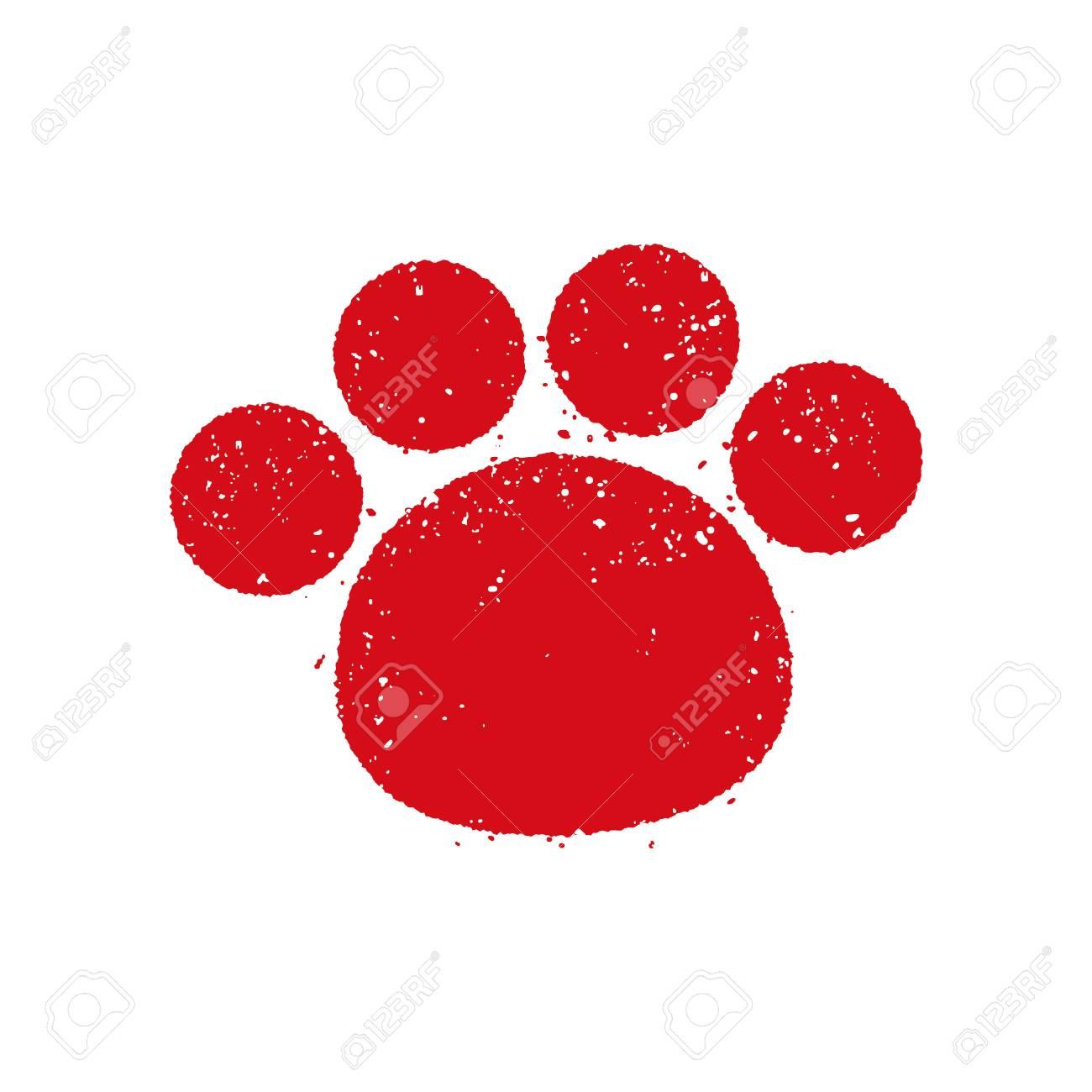 Dog footstep greeting stamp mark - 91383872