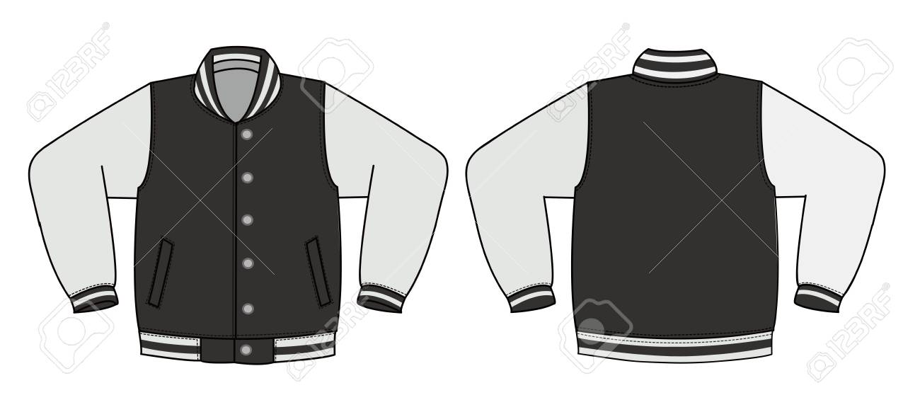 Illustration of varsity jacket / black in front and back view