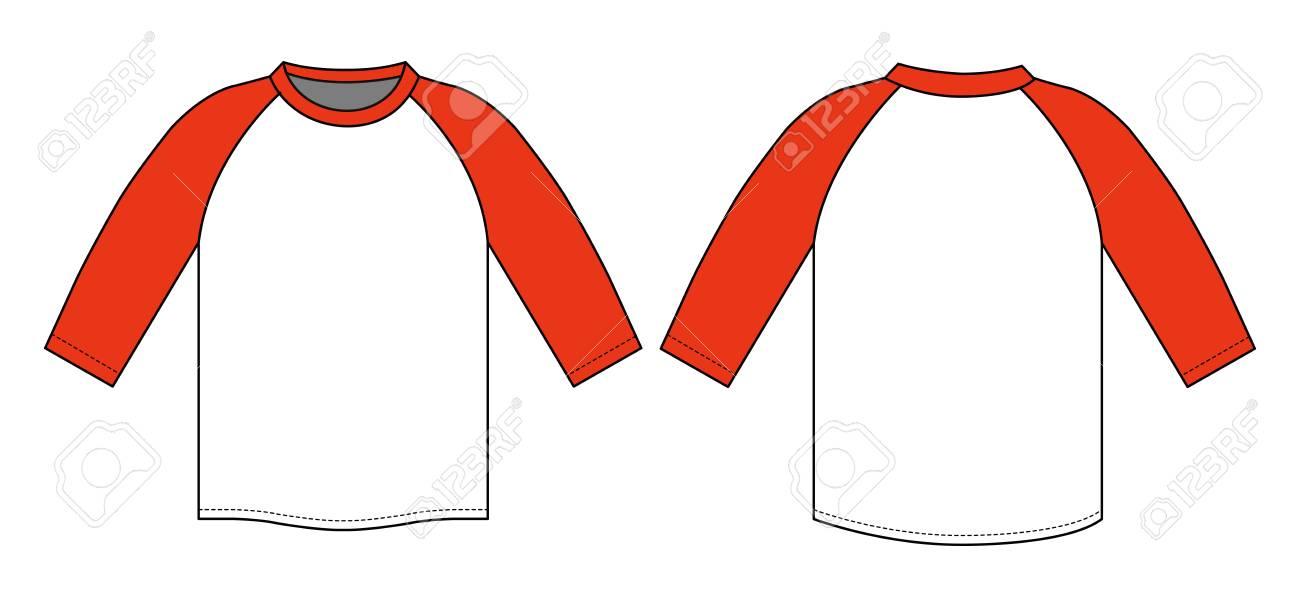 ラグラン袖 T シャツ イラスト 赤のイラスト素材ベクタ Image