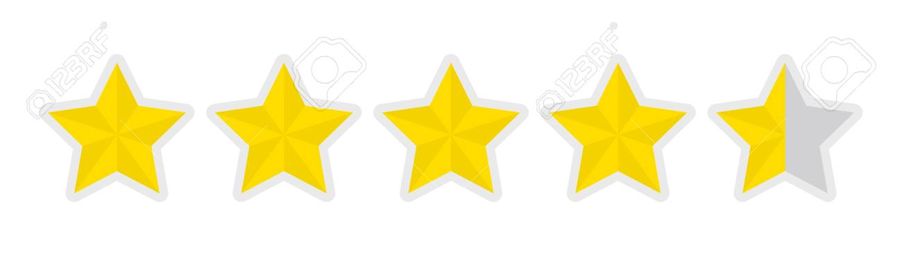 Five-star Rating Icon (4.5) Royalty Free Cliparts, Vectors, And ...